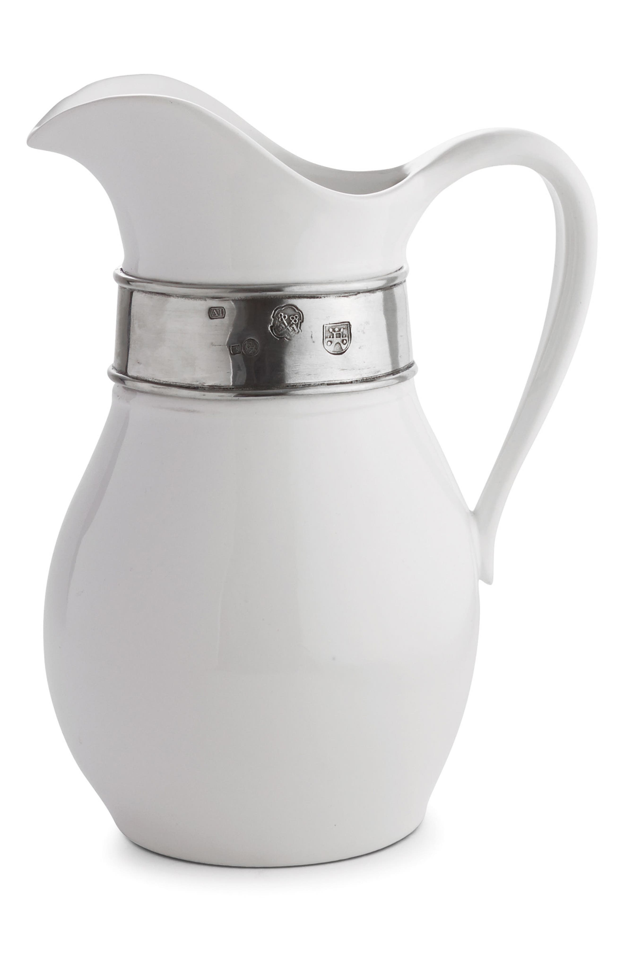 Tuscan Tall Pitcher,                             Main thumbnail 1, color,                             White