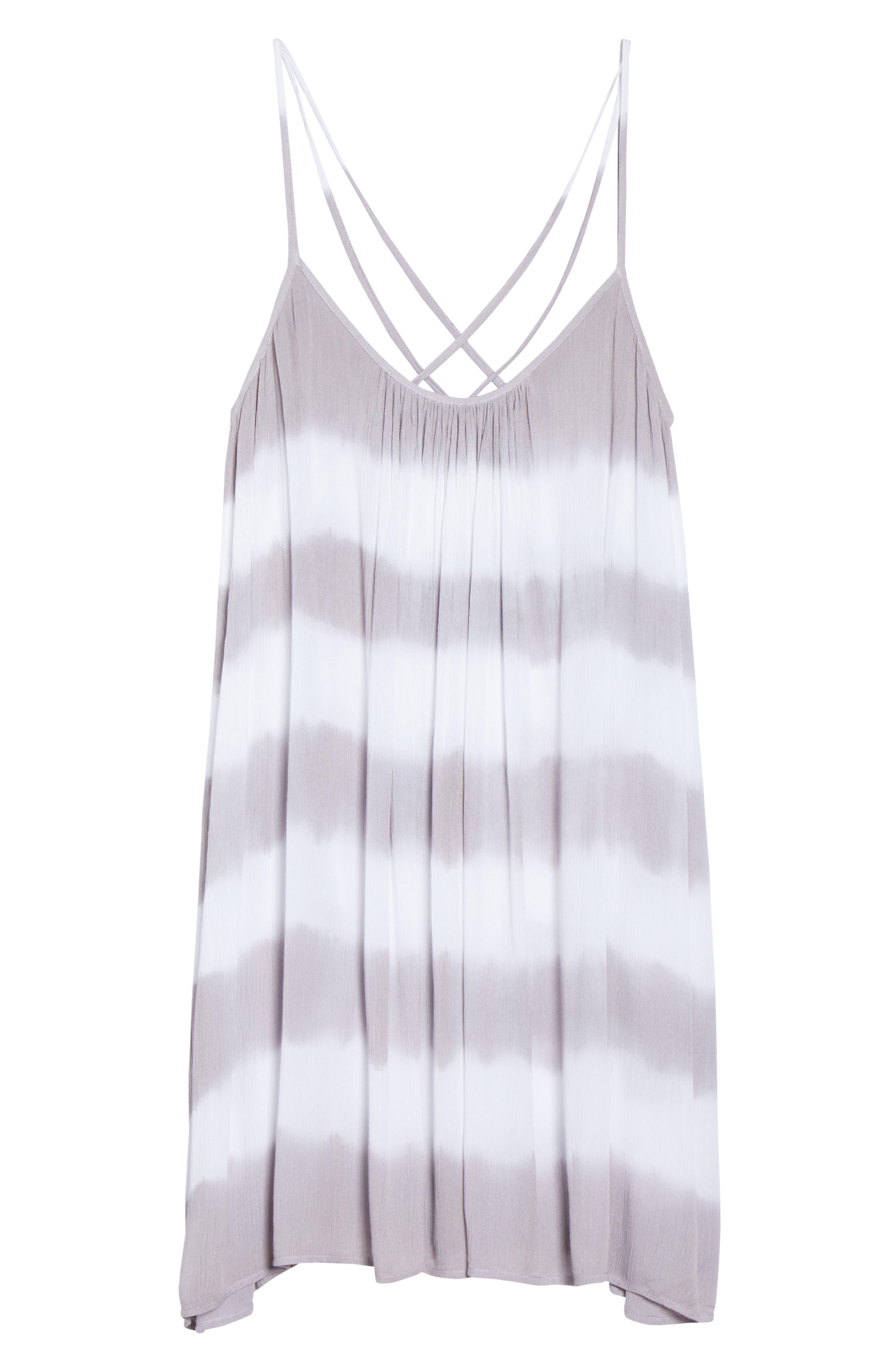 Cover-Up Dress,                             Alternate thumbnail 6, color,                             Grey/White Stripe