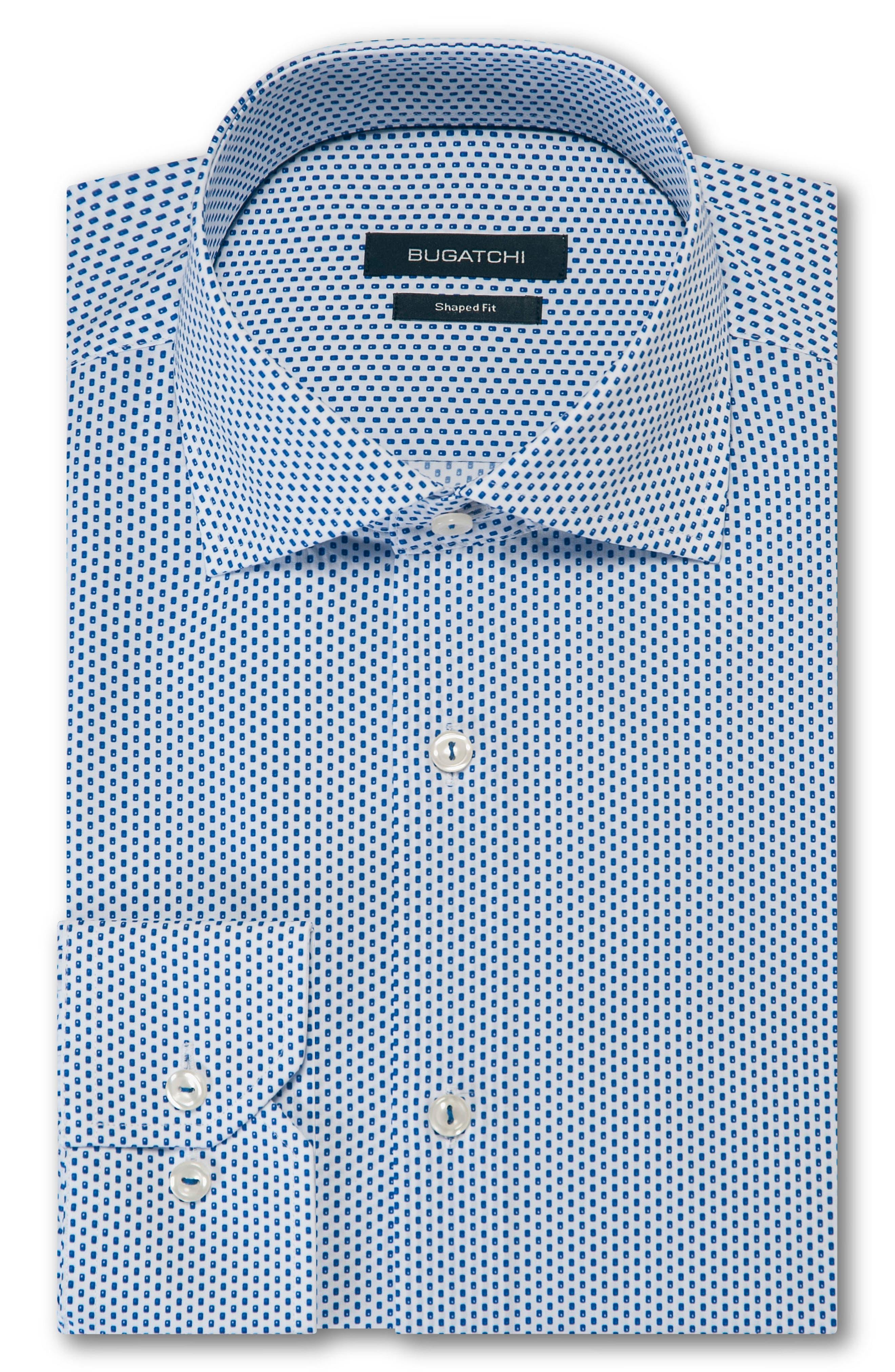 Trim Fit Dot Dress Shirt,                             Main thumbnail 1, color,                             Classic Blue