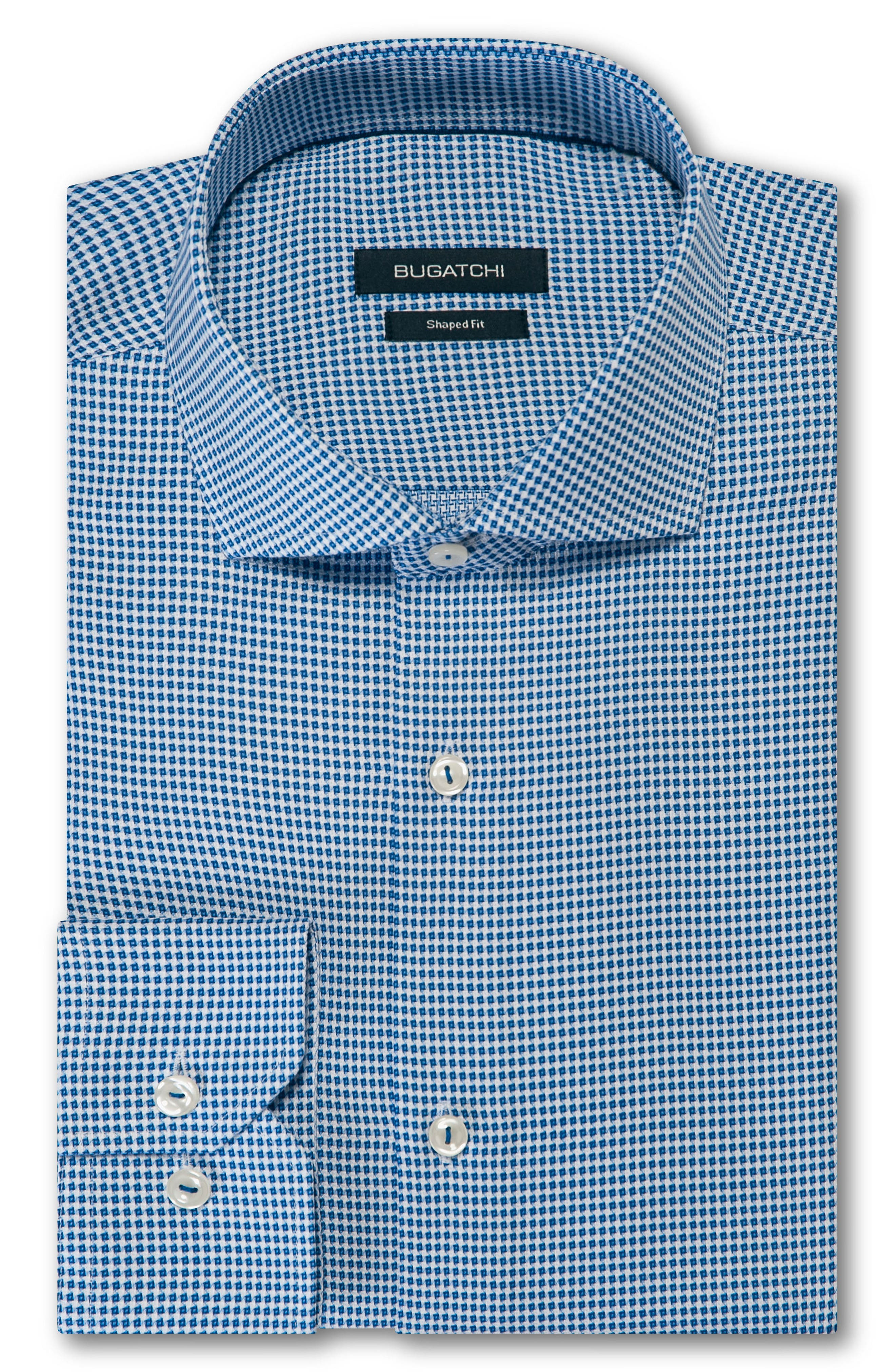 Trim Fit Houndstooth Dress Shirt,                         Main,                         color, Classic Blue