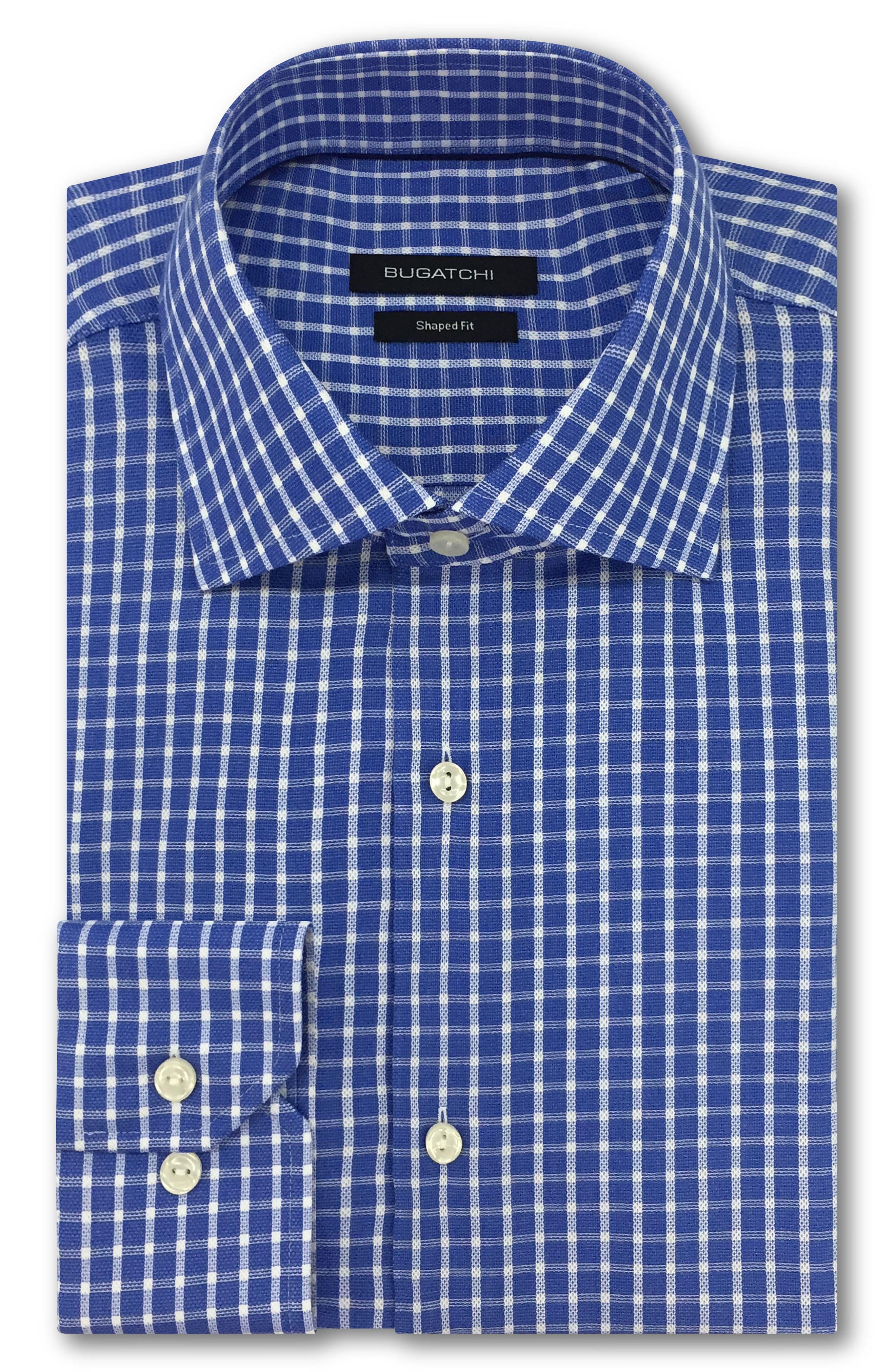Trim Fit Check Dress Shirt,                             Main thumbnail 1, color,                             Classic Blue