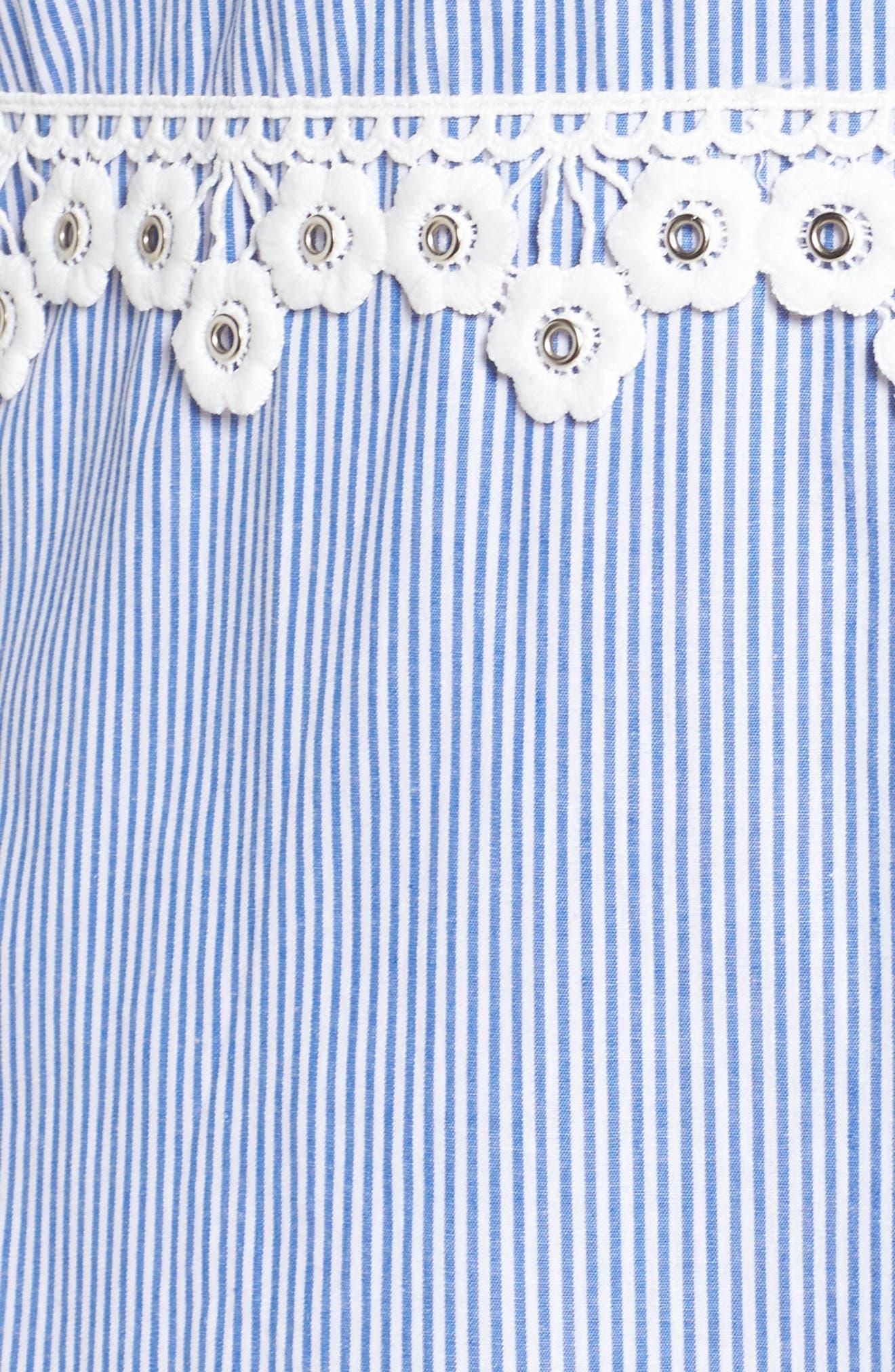 Flower Waist Stripe Shirtdress,                             Alternate thumbnail 5, color,                             Blue White Stripe