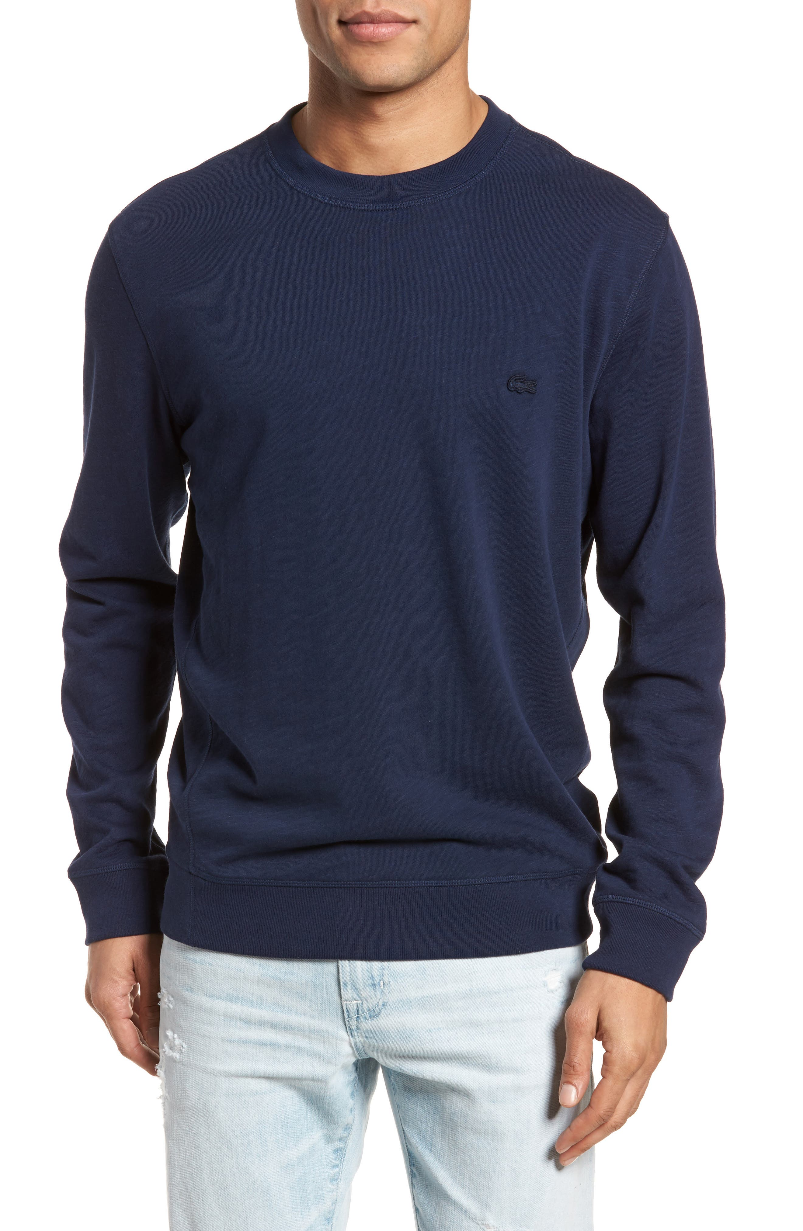 Slim Fit French Terry Sweatshirt,                         Main,                         color, Navy Blue