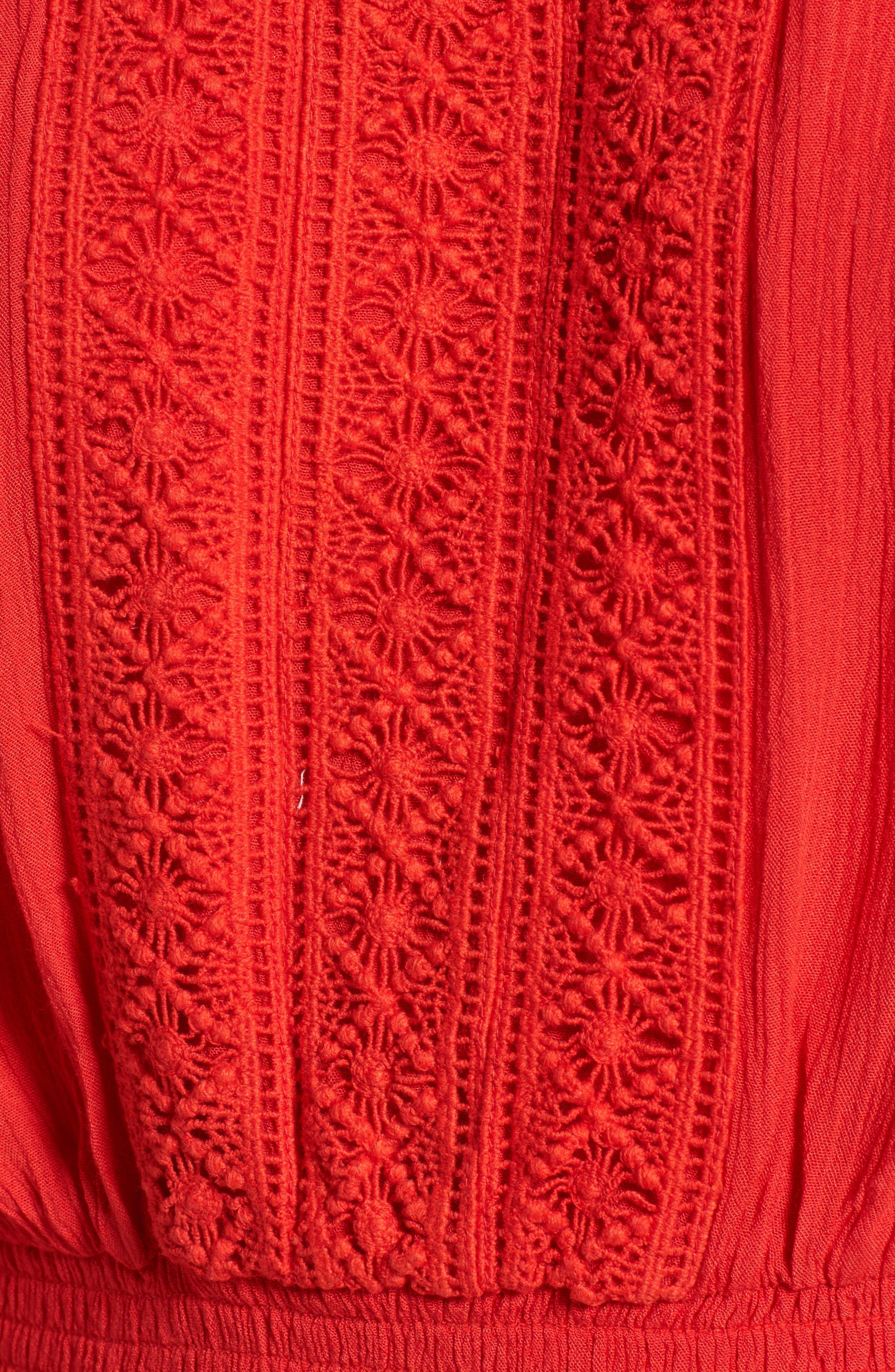 Flutter Sleeve Off the Shoulder Top,                             Alternate thumbnail 5, color,                             Red