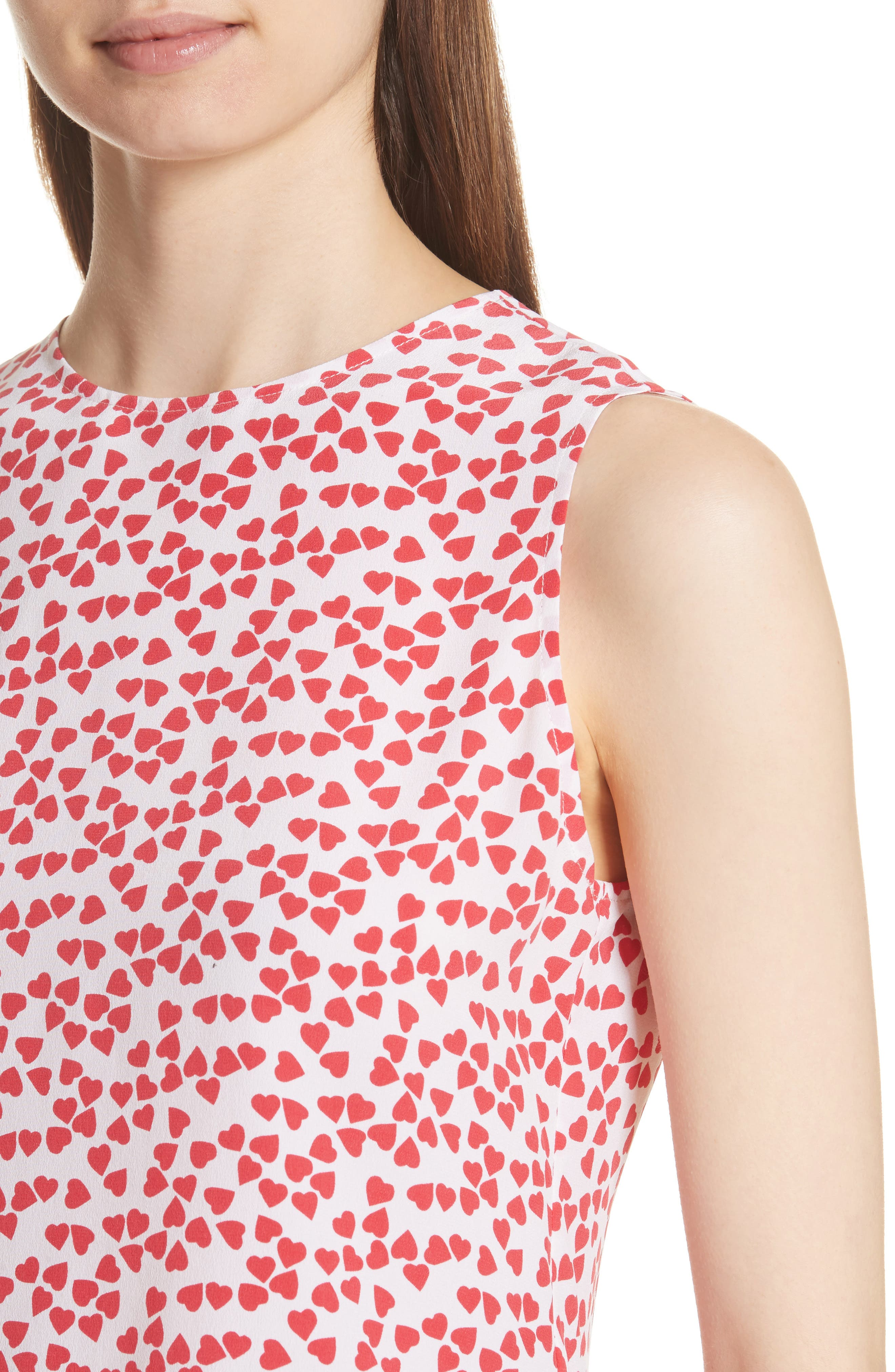 Lyle Print Silk Sleeveless Top,                             Alternate thumbnail 4, color,                             Bright White-Charged Pink