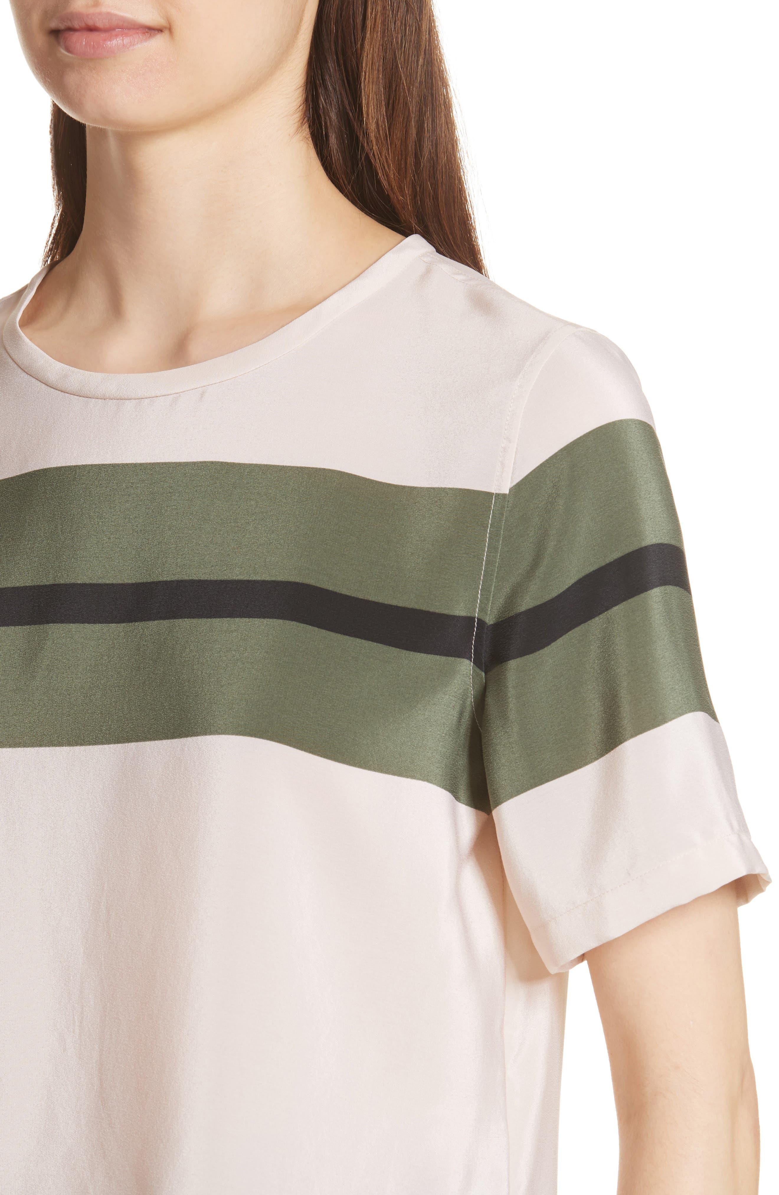 Brynn Stripe Silk Tee,                             Alternate thumbnail 4, color,                             French Vanilla-Camouflage