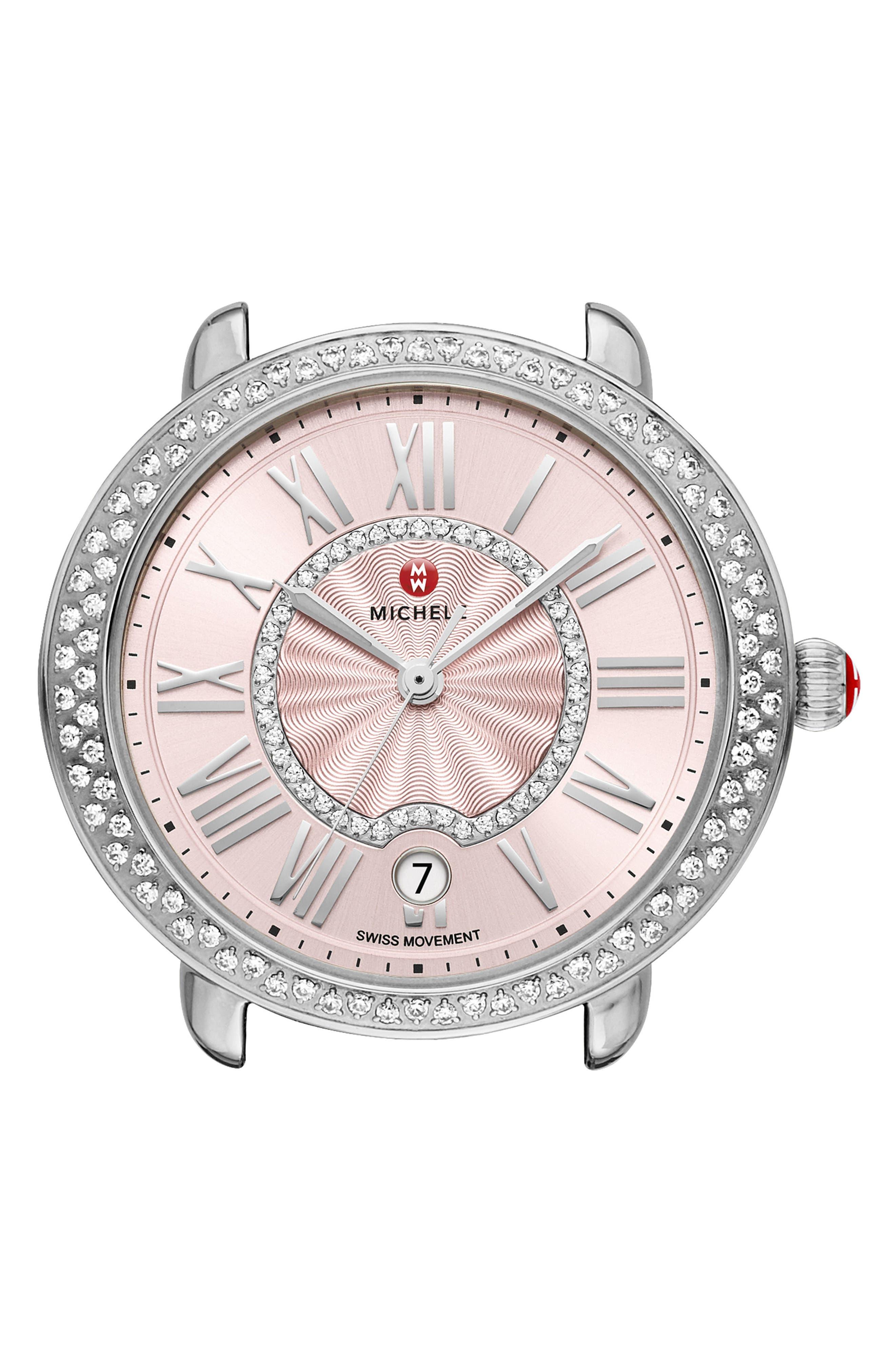 Serein Mid Diamond Watch Head, 36mm x 34mm,                             Main thumbnail 1, color,                             Silver/ Blush