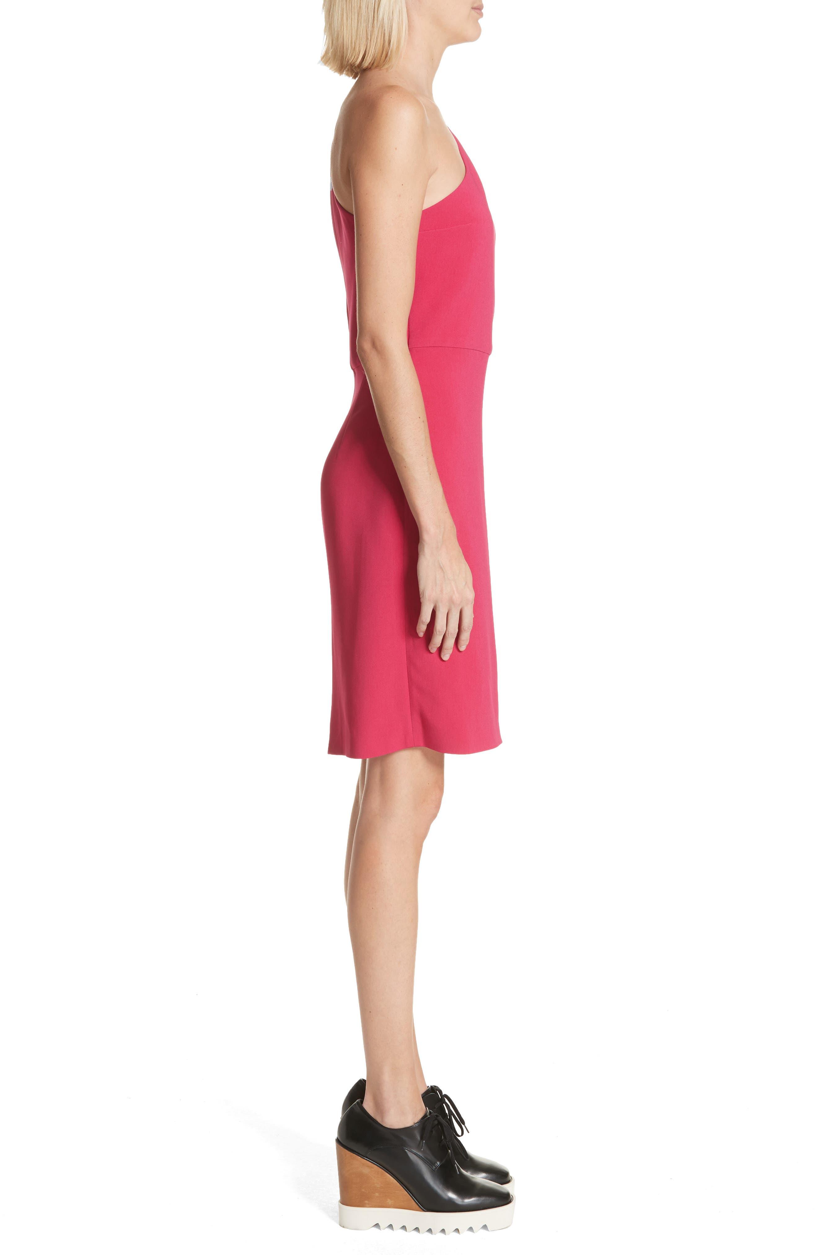 One-Shoulder Puff Sleeve Cady Dress,                             Alternate thumbnail 3, color,                             Bubble Gum