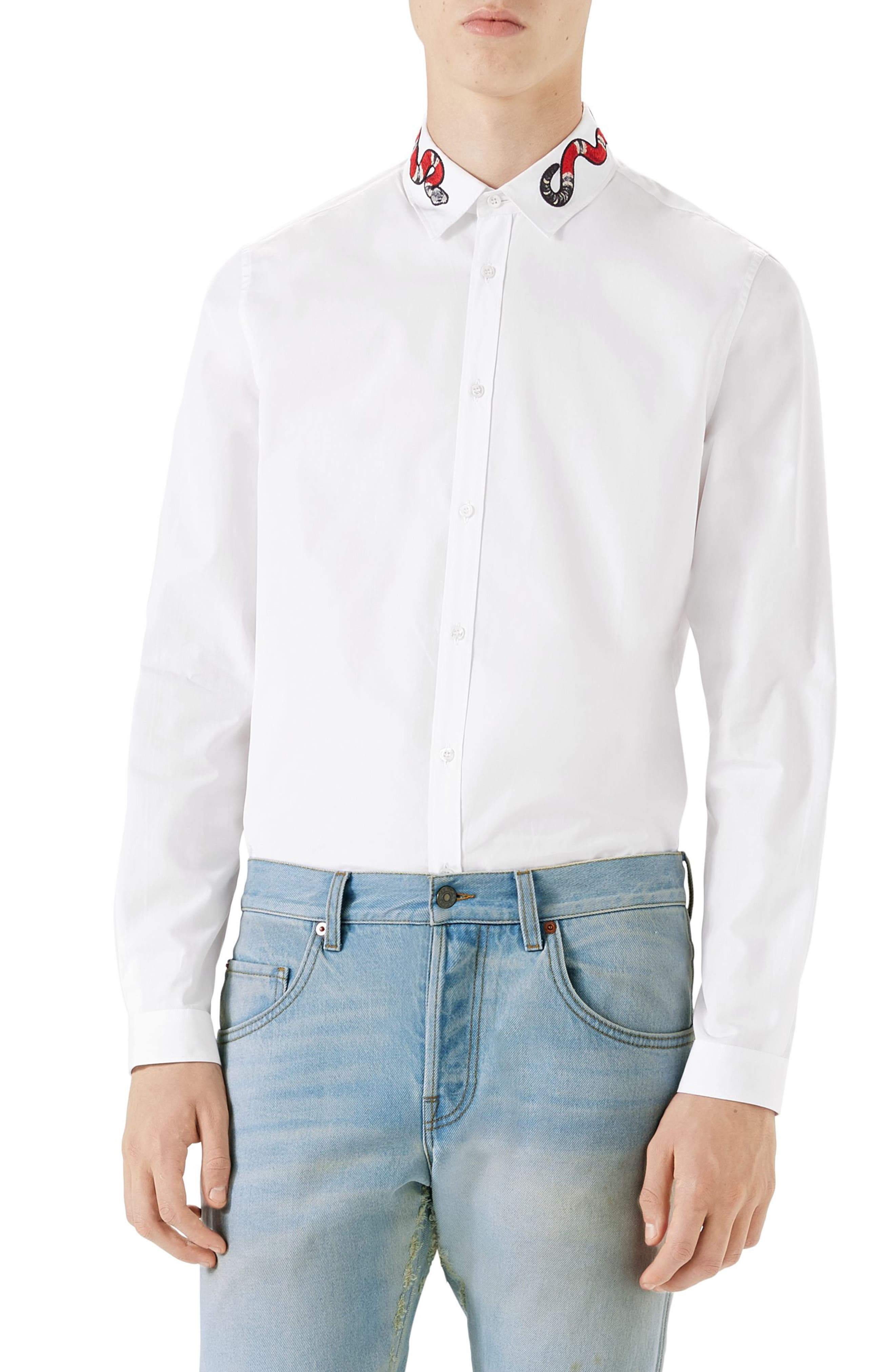 Snake Embroidered Collar Shirt,                         Main,                         color, White