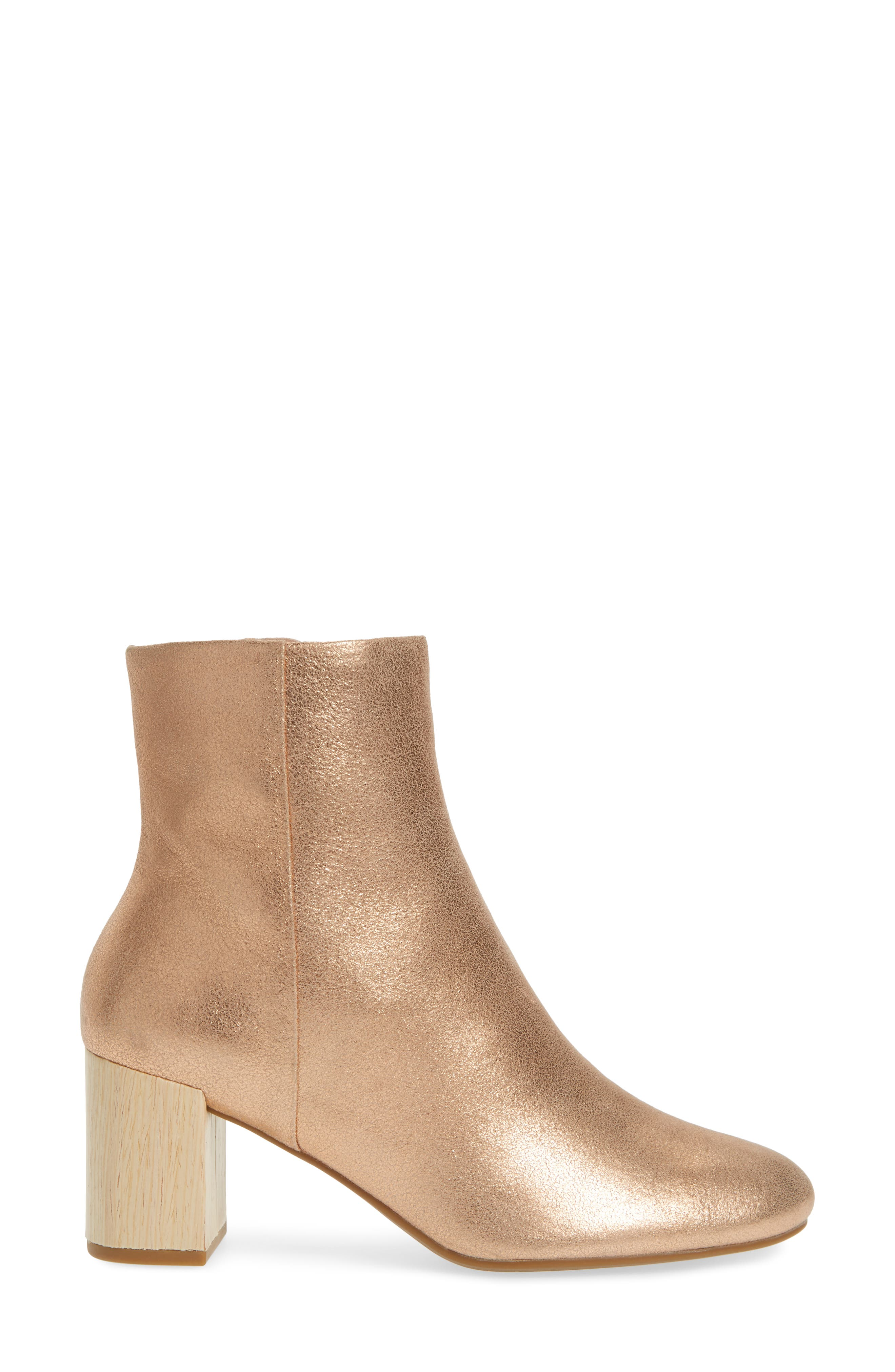 Cassidy Block Heel Bootie,                             Alternate thumbnail 3, color,                             Rose Gold Leather