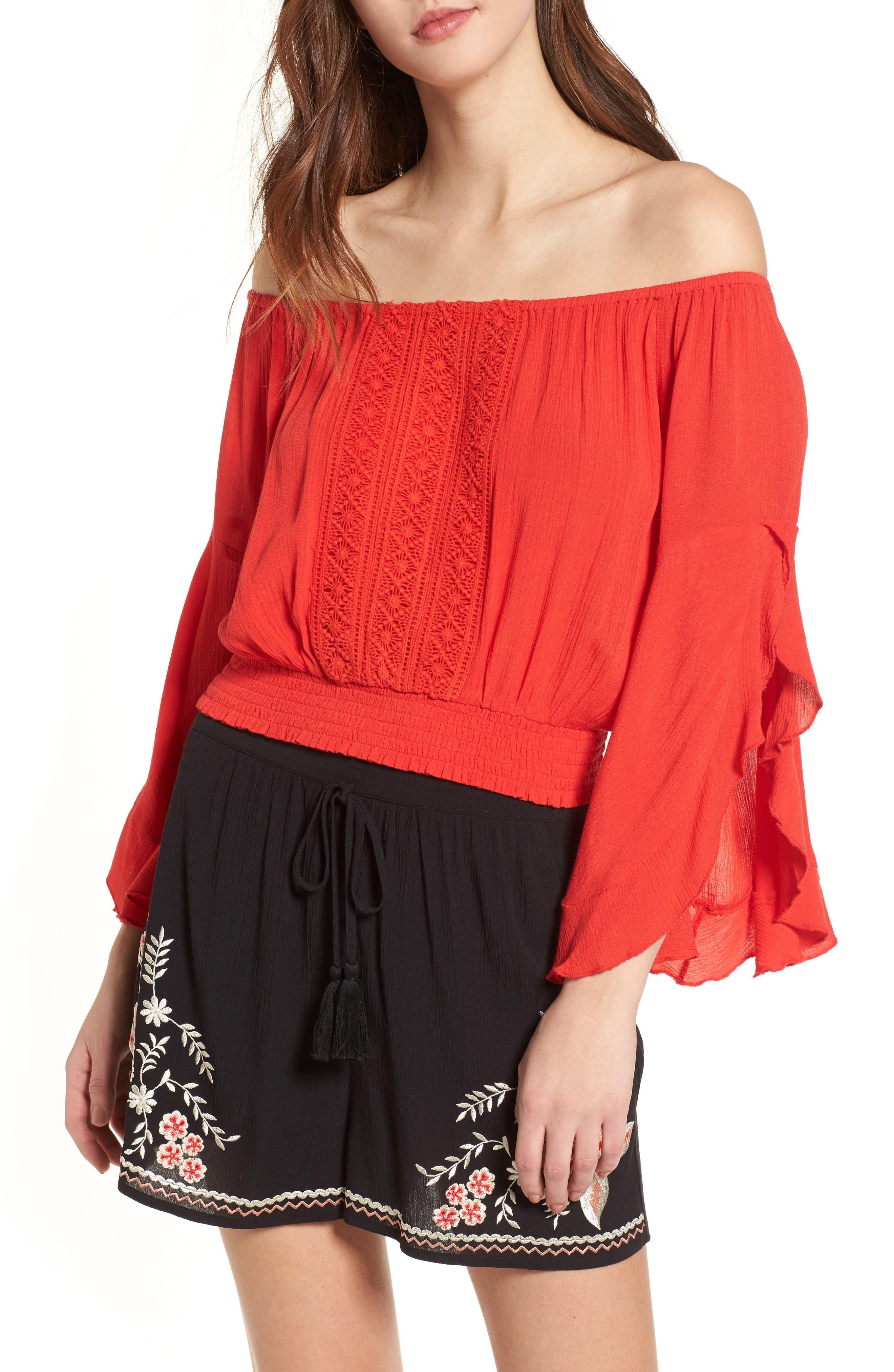 Flutter Sleeve Off the Shoulder Top,                         Main,                         color, Red