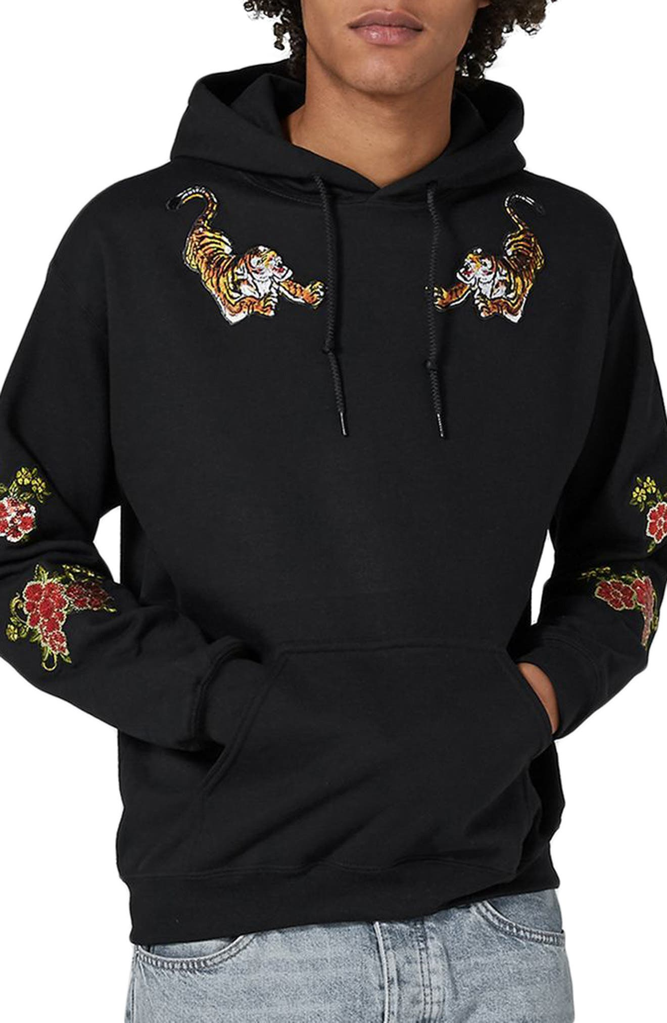 Topman Embroidered Appliqué Classic Fit Hoodie