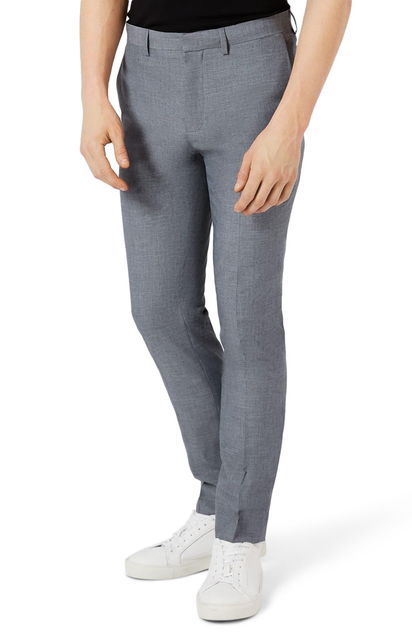 Topman Skinny Fit Crosshatch Suit Trousers