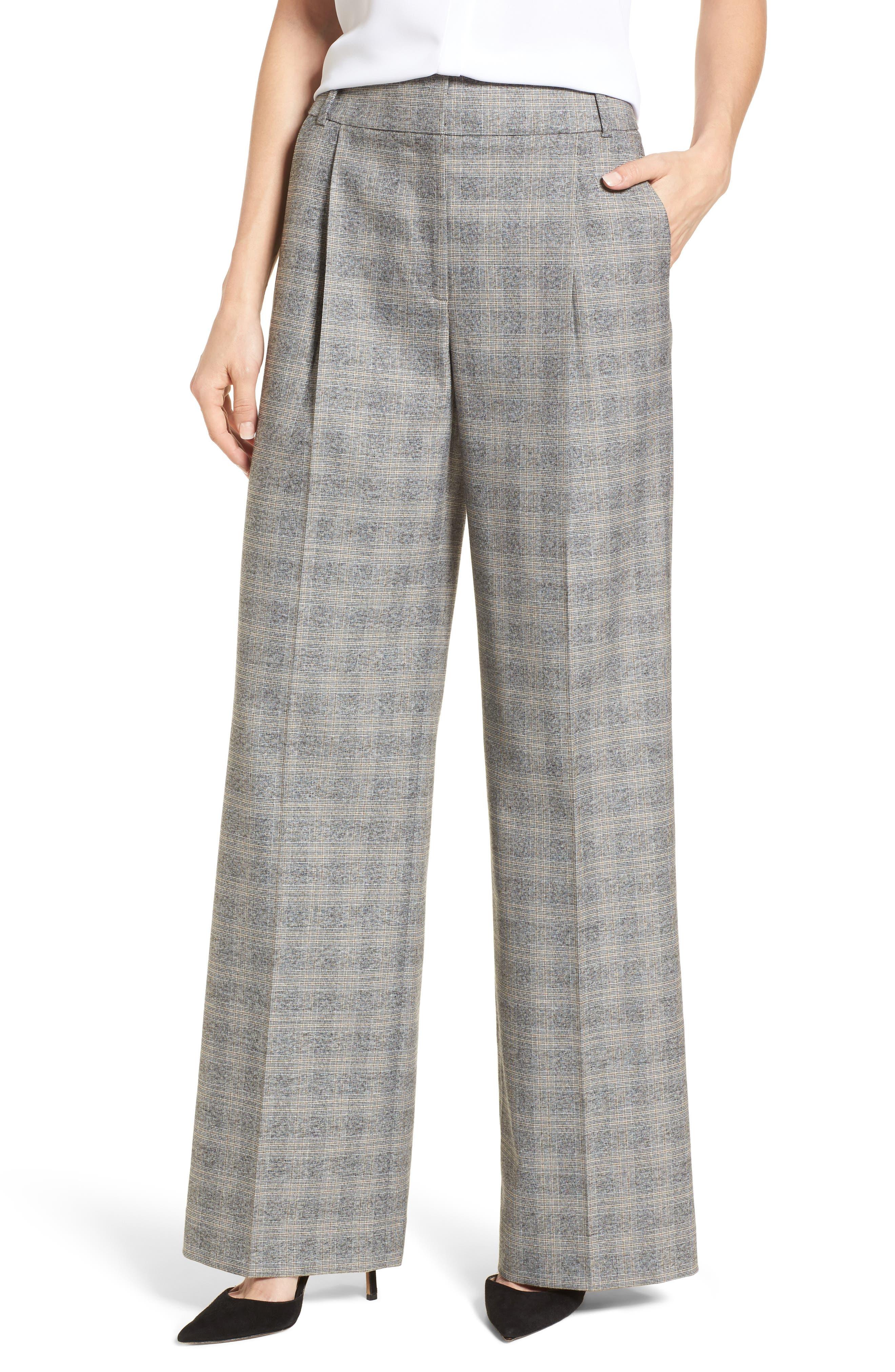 Check Plaid Wide Leg Suit Pants,                             Main thumbnail 1, color,                             Grey Check