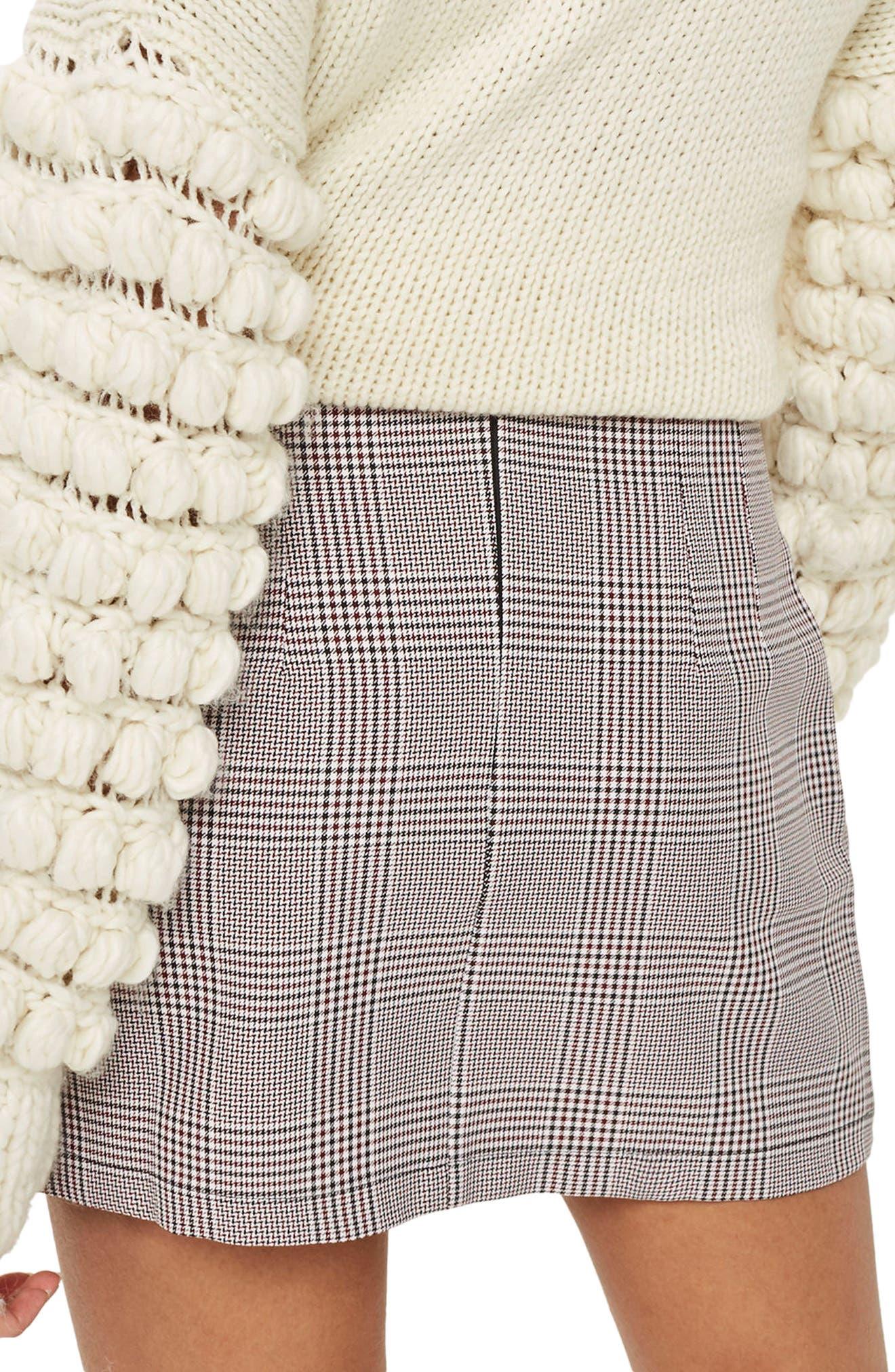 Frill Edge Heritage Check Skirt,                             Alternate thumbnail 3, color,                             Red Multi