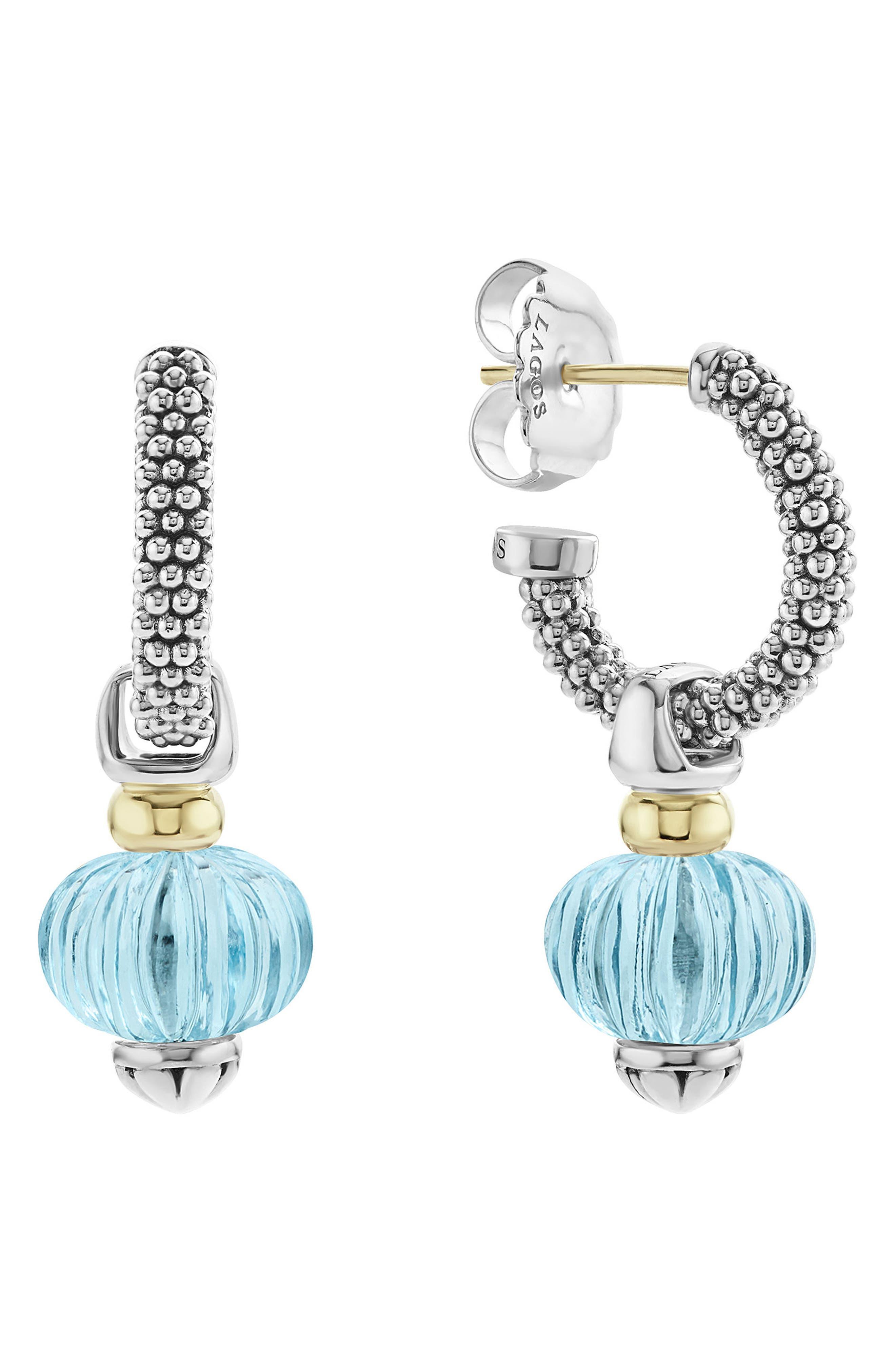 Caviar Forever Melon Bead Charm Earrings,                             Main thumbnail 1, color,                             Silver/ Sky Blue Topaz