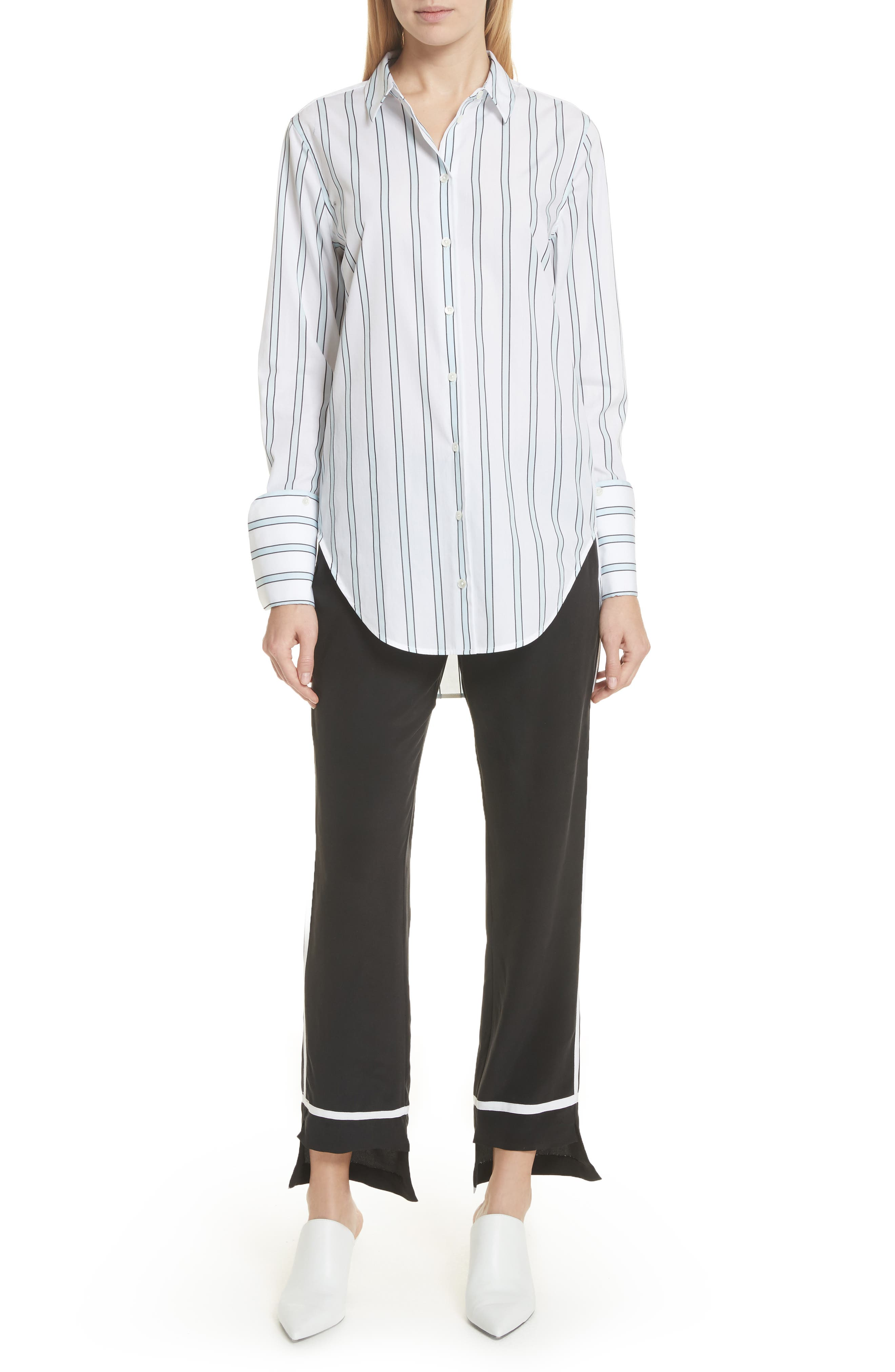 Essential Neopolitan Cuff Stripe Shirt,                             Alternate thumbnail 5, color,                             Bright White-Cool Breeze