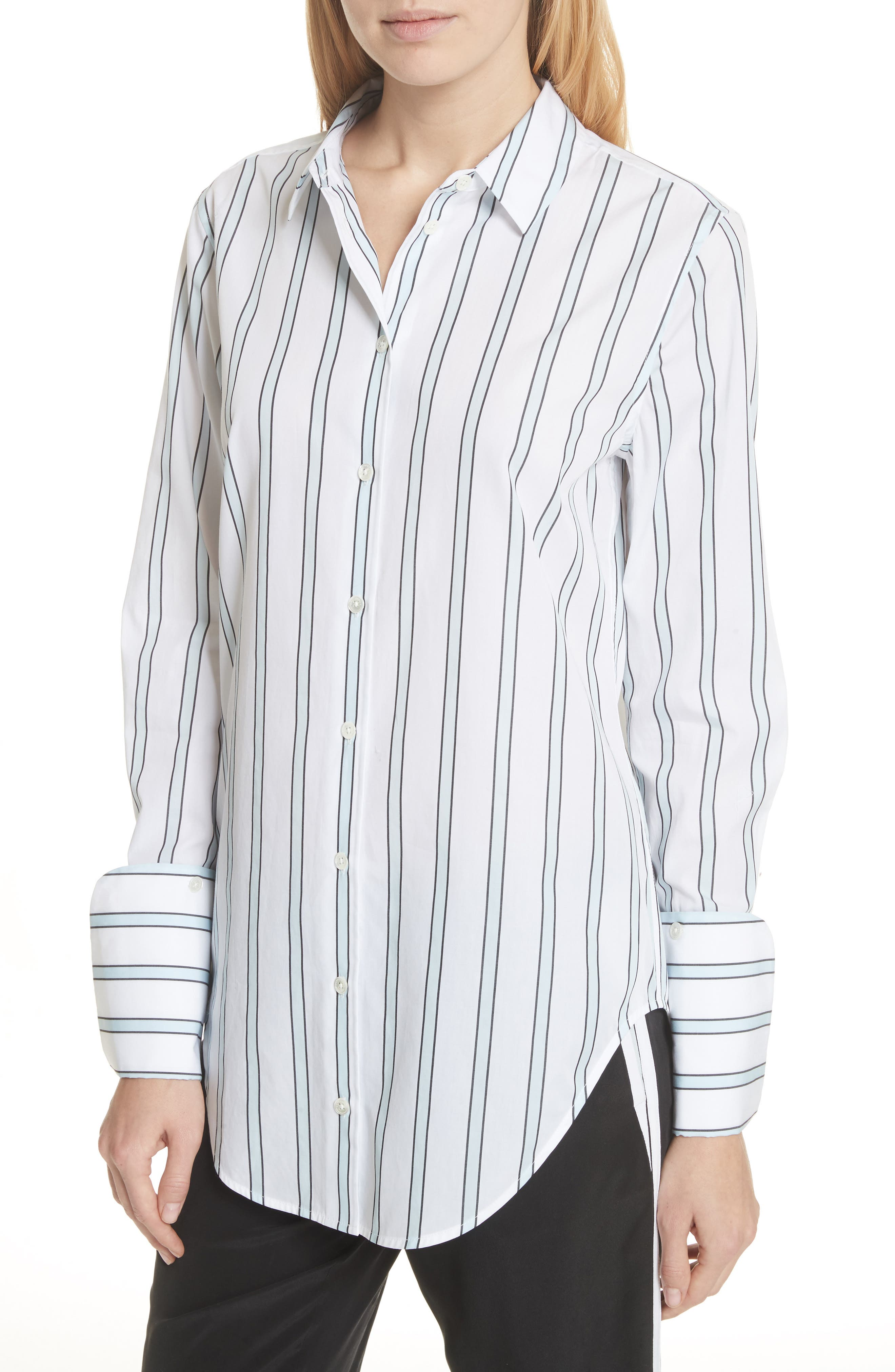 Essential Neopolitan Cuff Stripe Shirt,                             Alternate thumbnail 4, color,                             Bright White-Cool Breeze