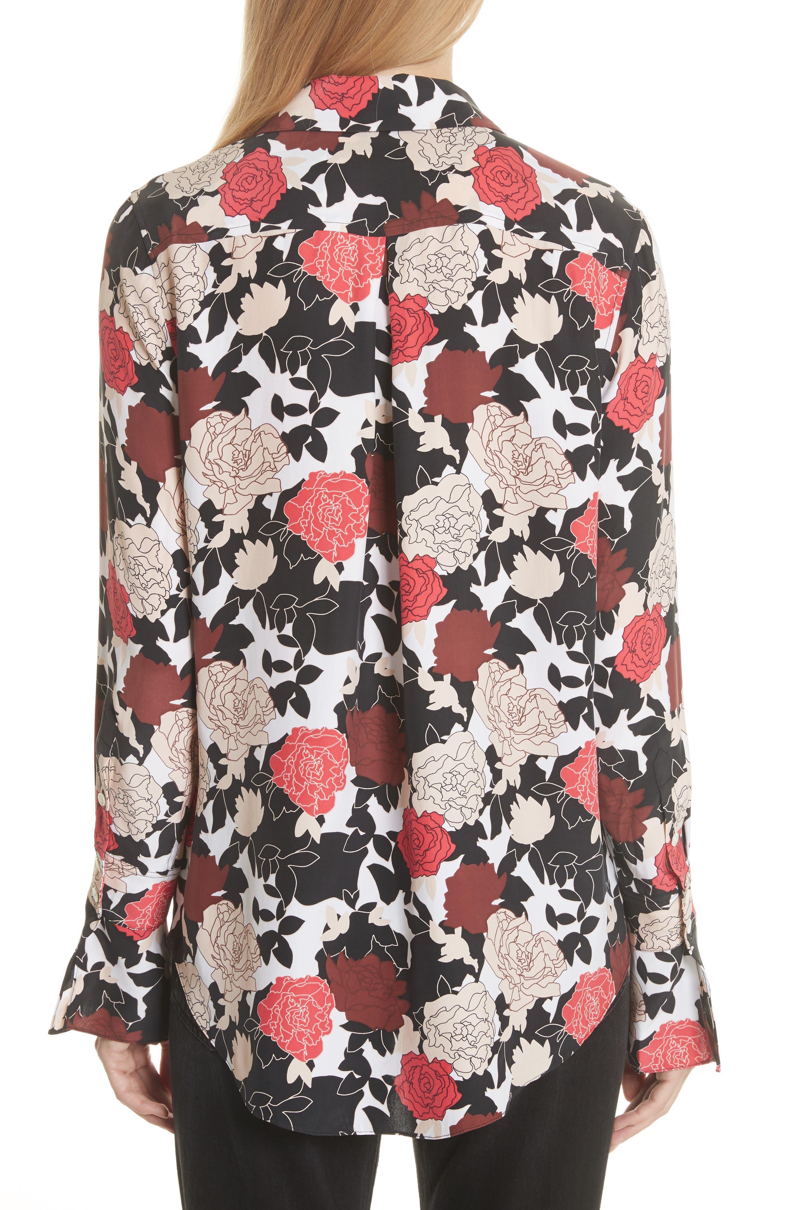 Daphne Floral Silk Shirt,                             Alternate thumbnail 2, color,                             Bright White Multi