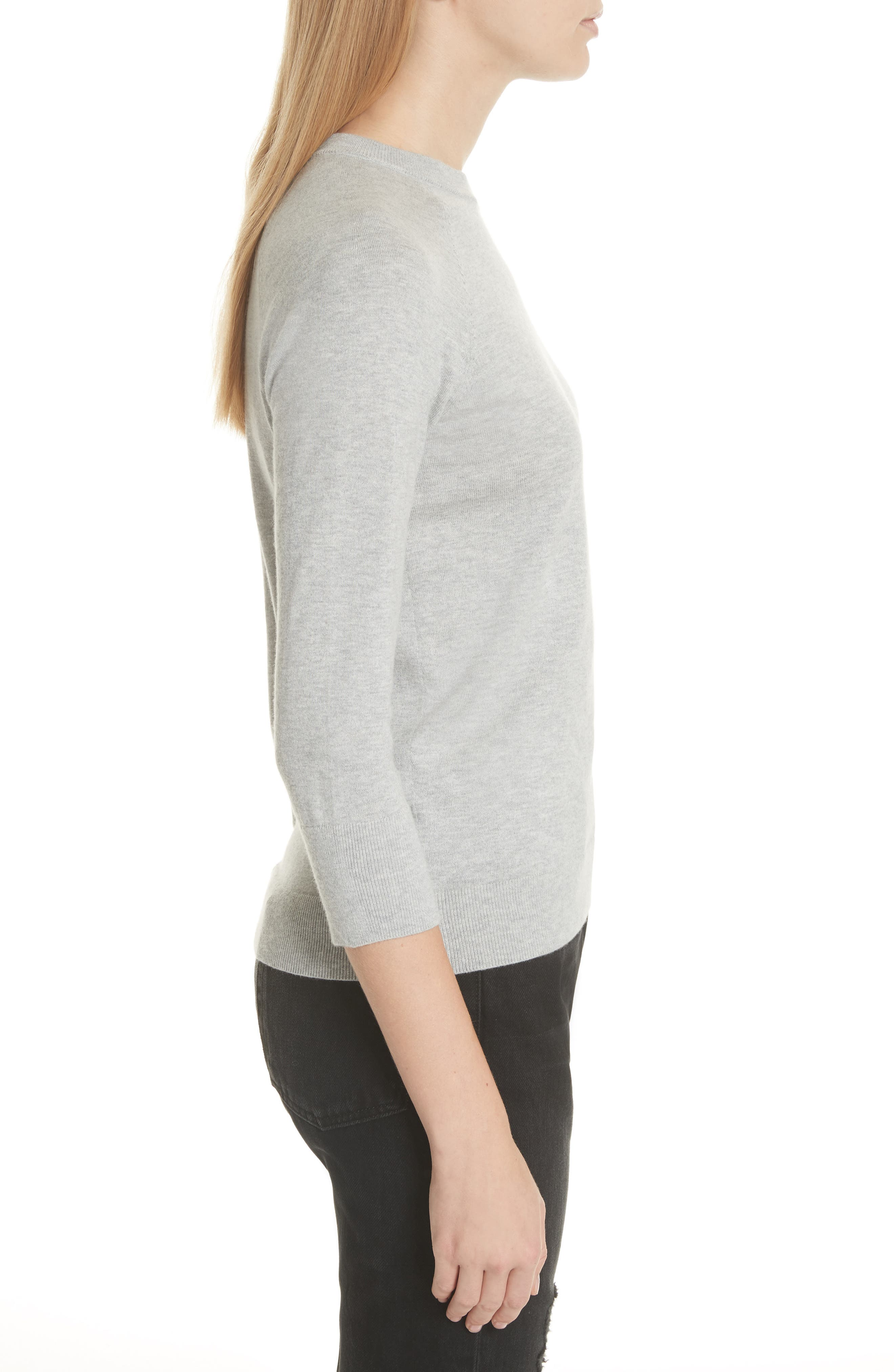 Cotton & Cashmere Sweater,                             Alternate thumbnail 3, color,                             Light Heather Grey