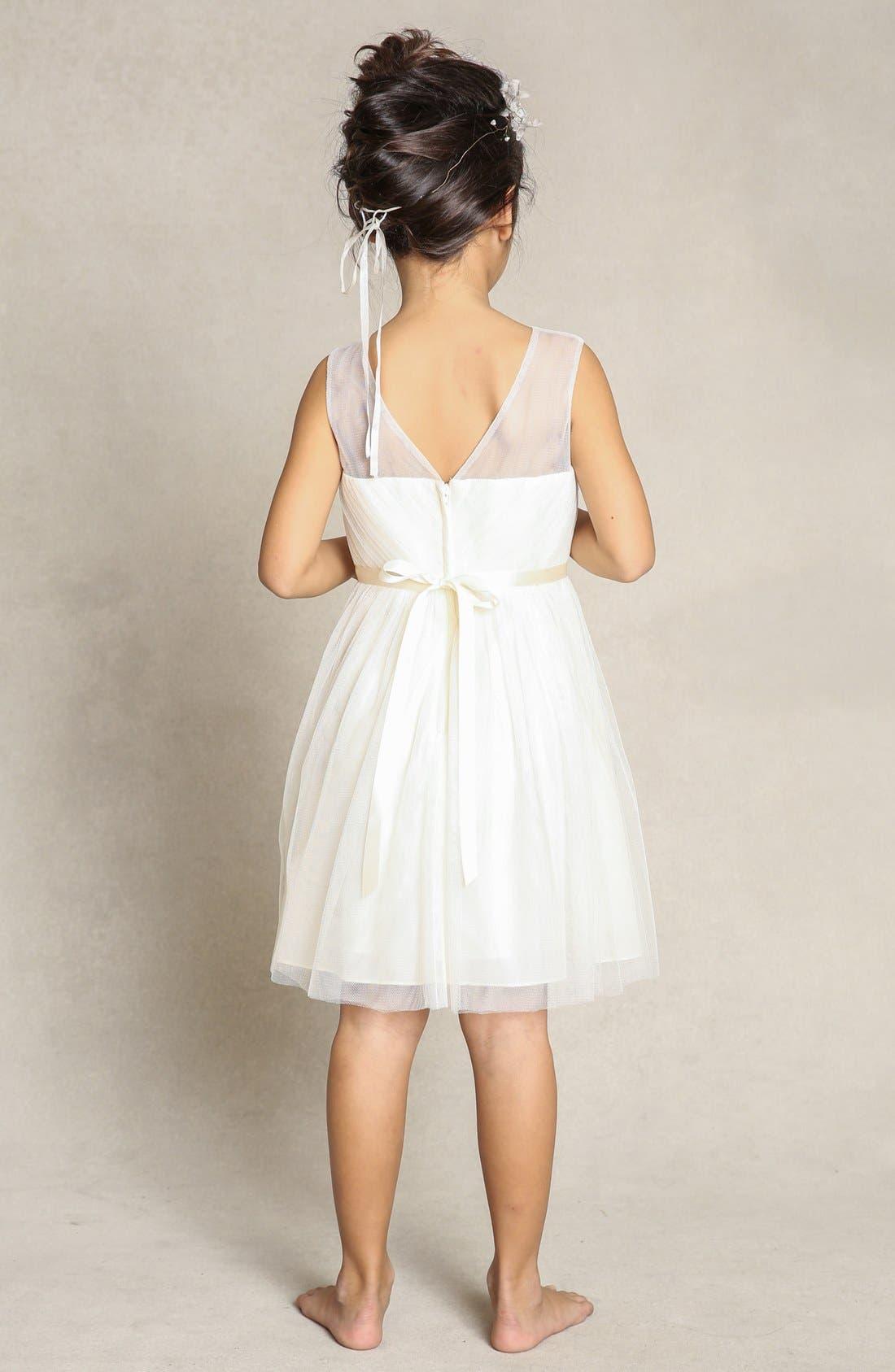 Zoe Floral Appliqué Tulle Dress,                             Alternate thumbnail 2, color,                             Cream