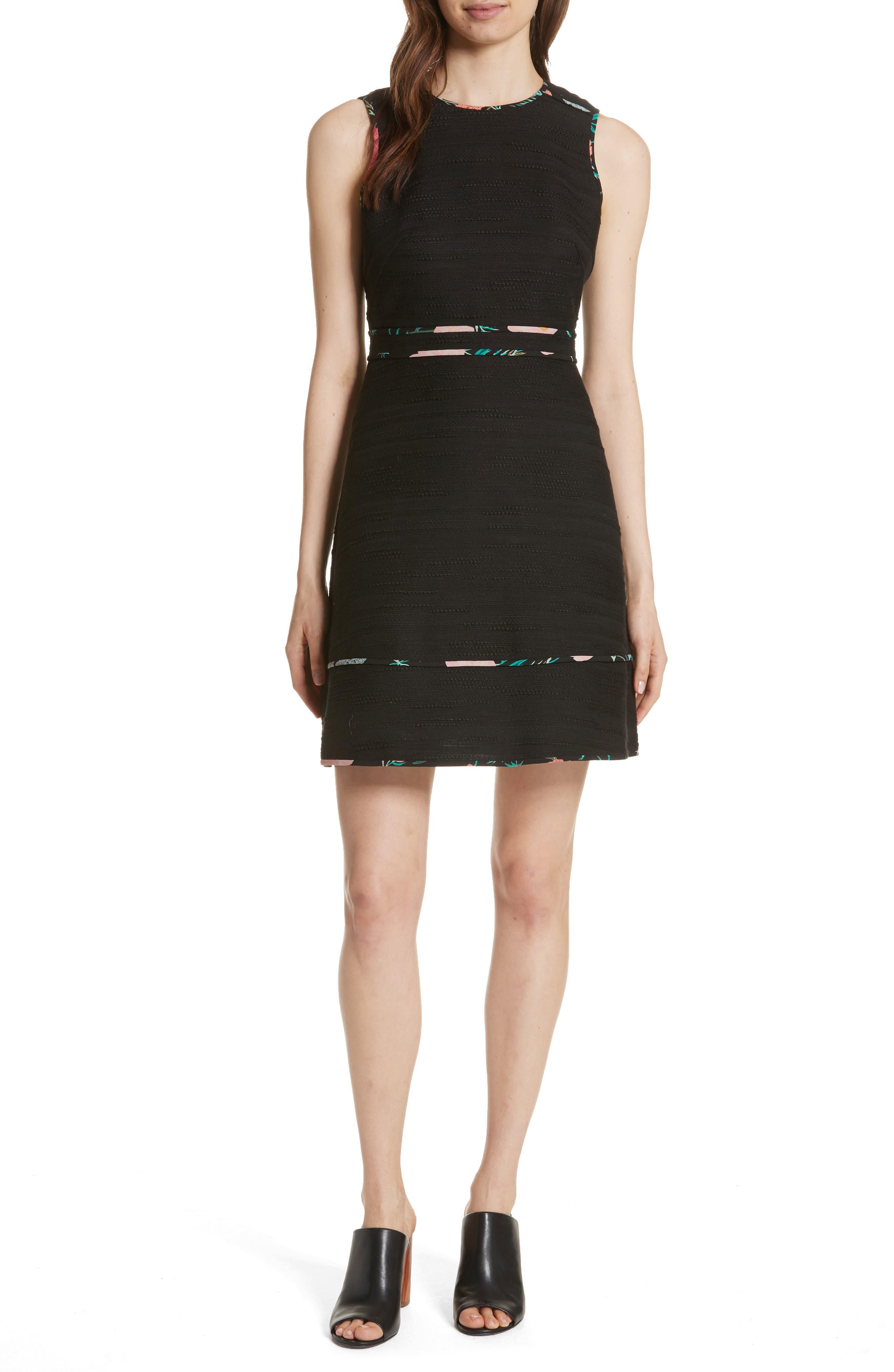 blossom trim tweed dress,                         Main,                         color, Black
