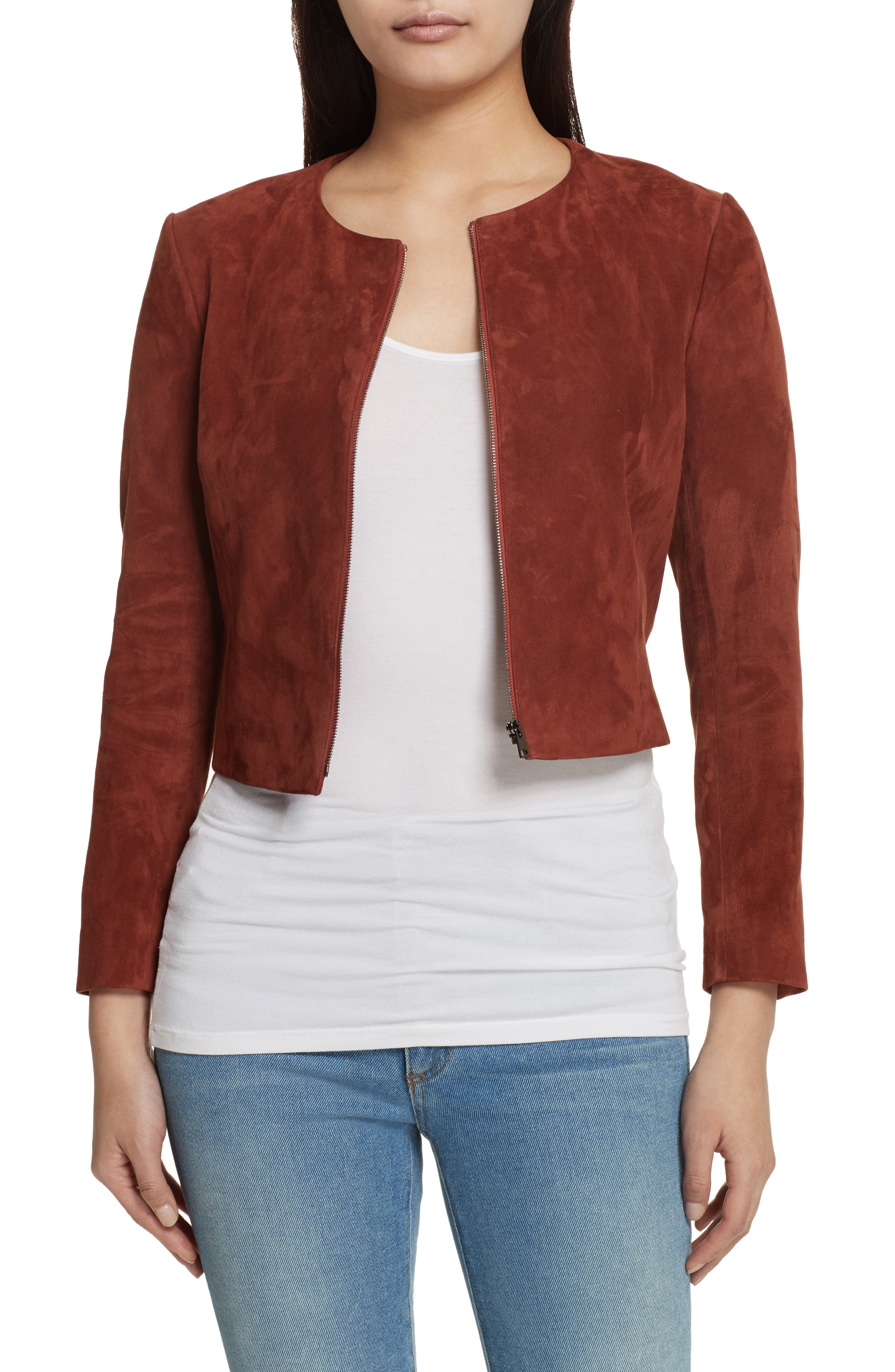 Morene Stretch Suede Jacket,                             Main thumbnail 1, color,                             Brown Russet