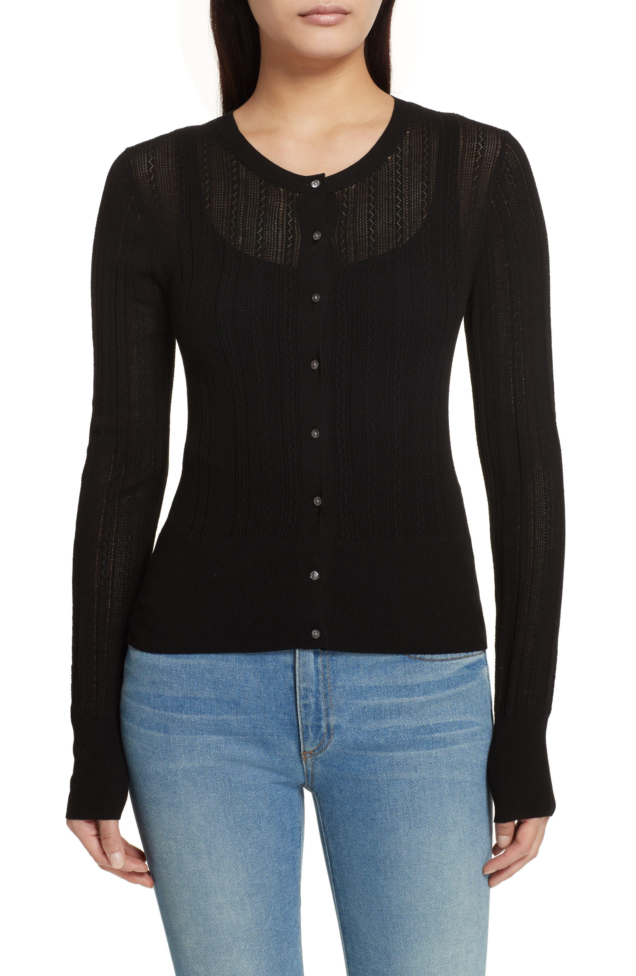 Prosecco Lace Knit Cardigan,                             Main thumbnail 1, color,                             Black