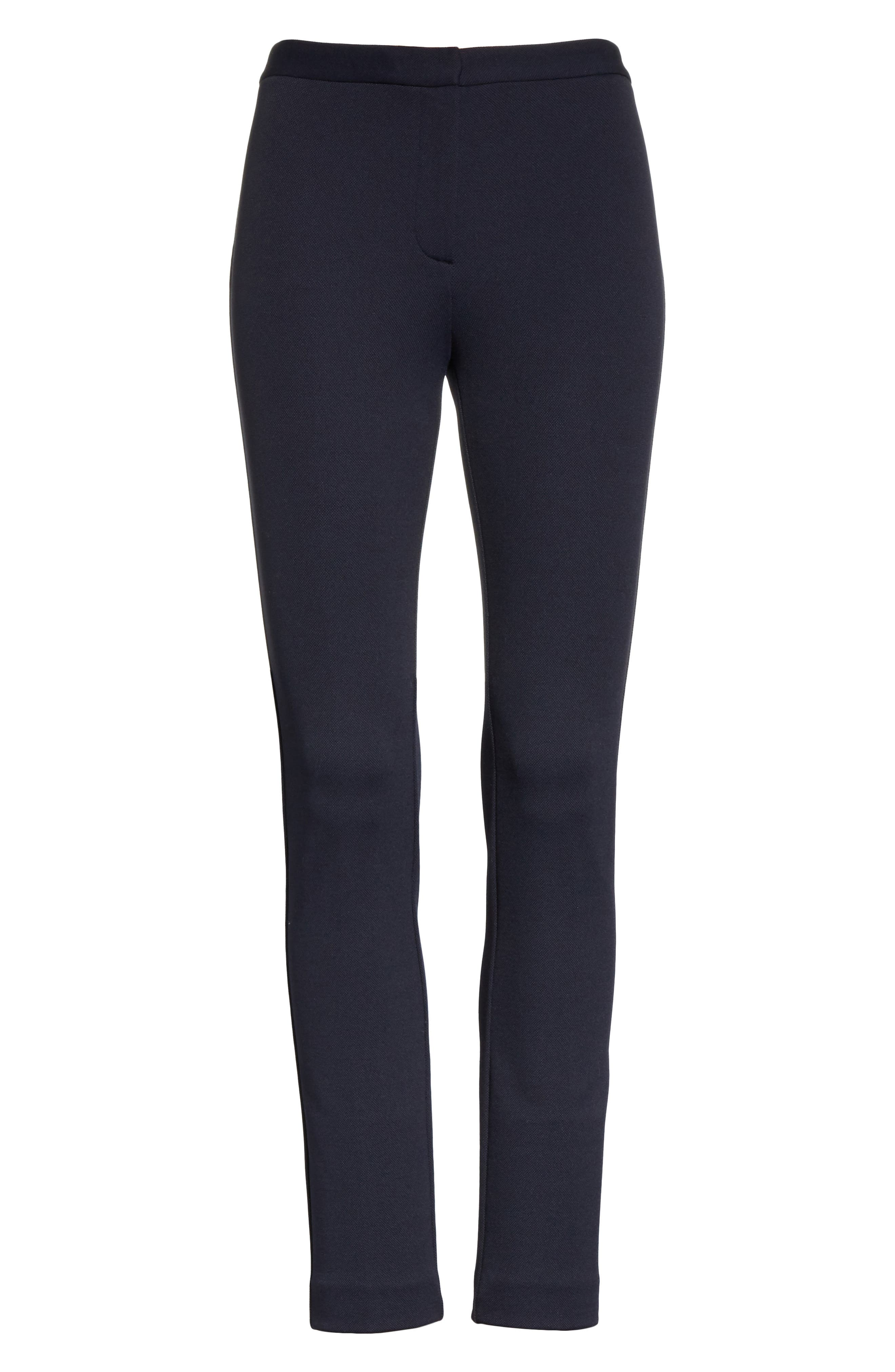 Piqué Skinny Pants,                             Alternate thumbnail 6, color,                             Black