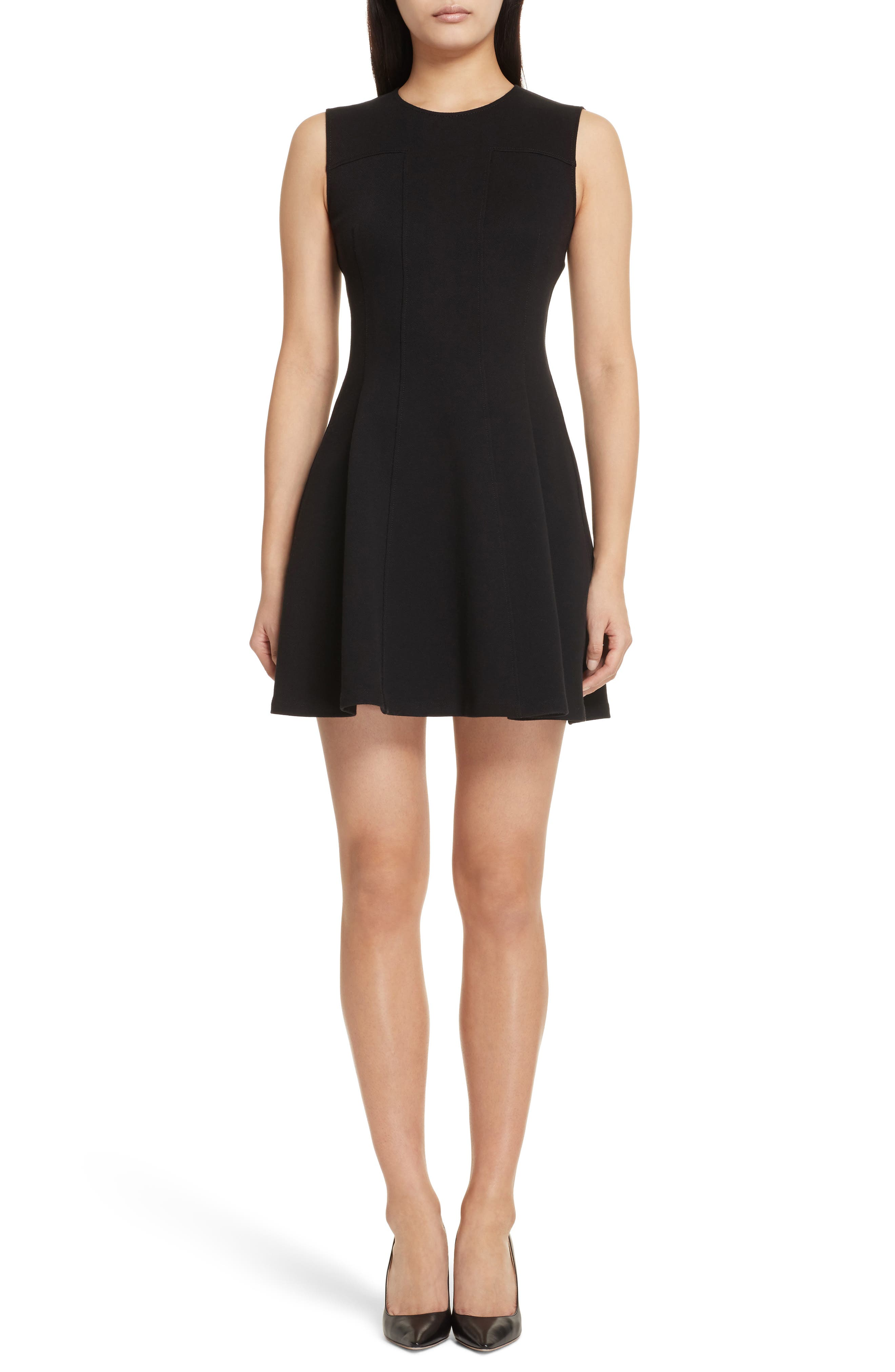 Piqué Fit & Flare Dress,                             Main thumbnail 1, color,                             Black