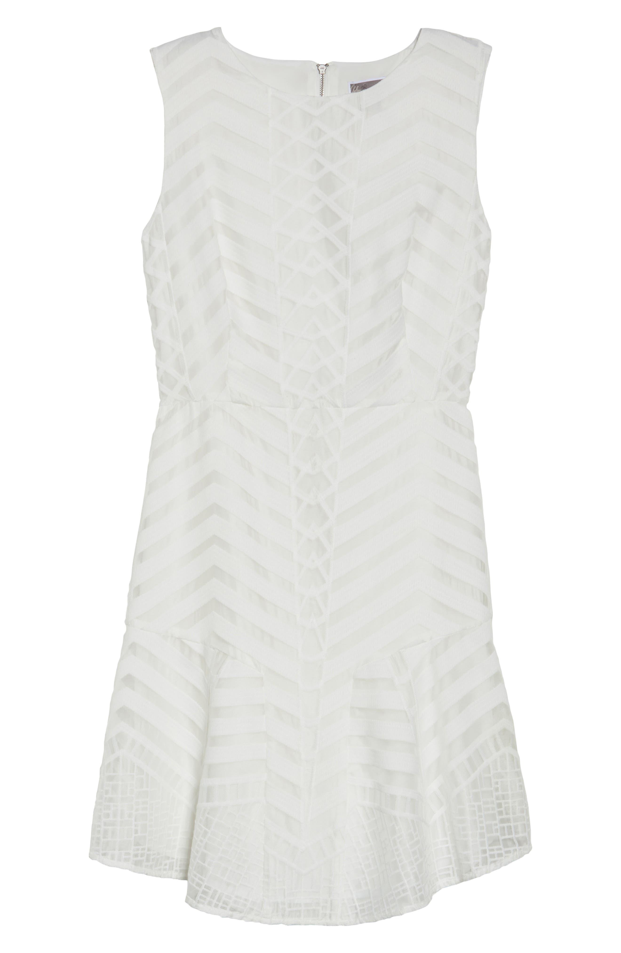 Fit & Flare Dress,                             Alternate thumbnail 6, color,                             White Snow