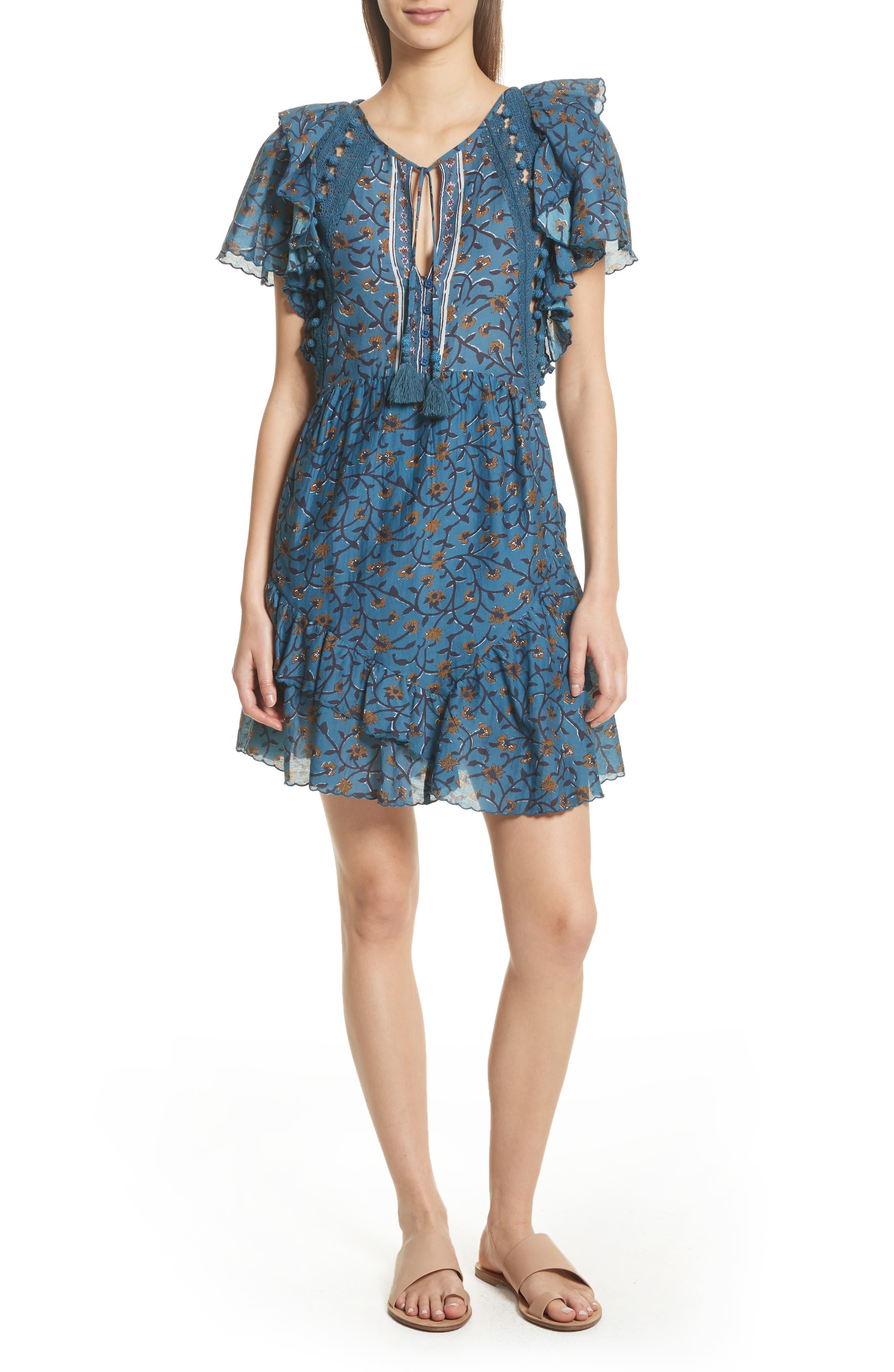 Kaylee Crochet Pompom Dress,                         Main,                         color, Steel Blue