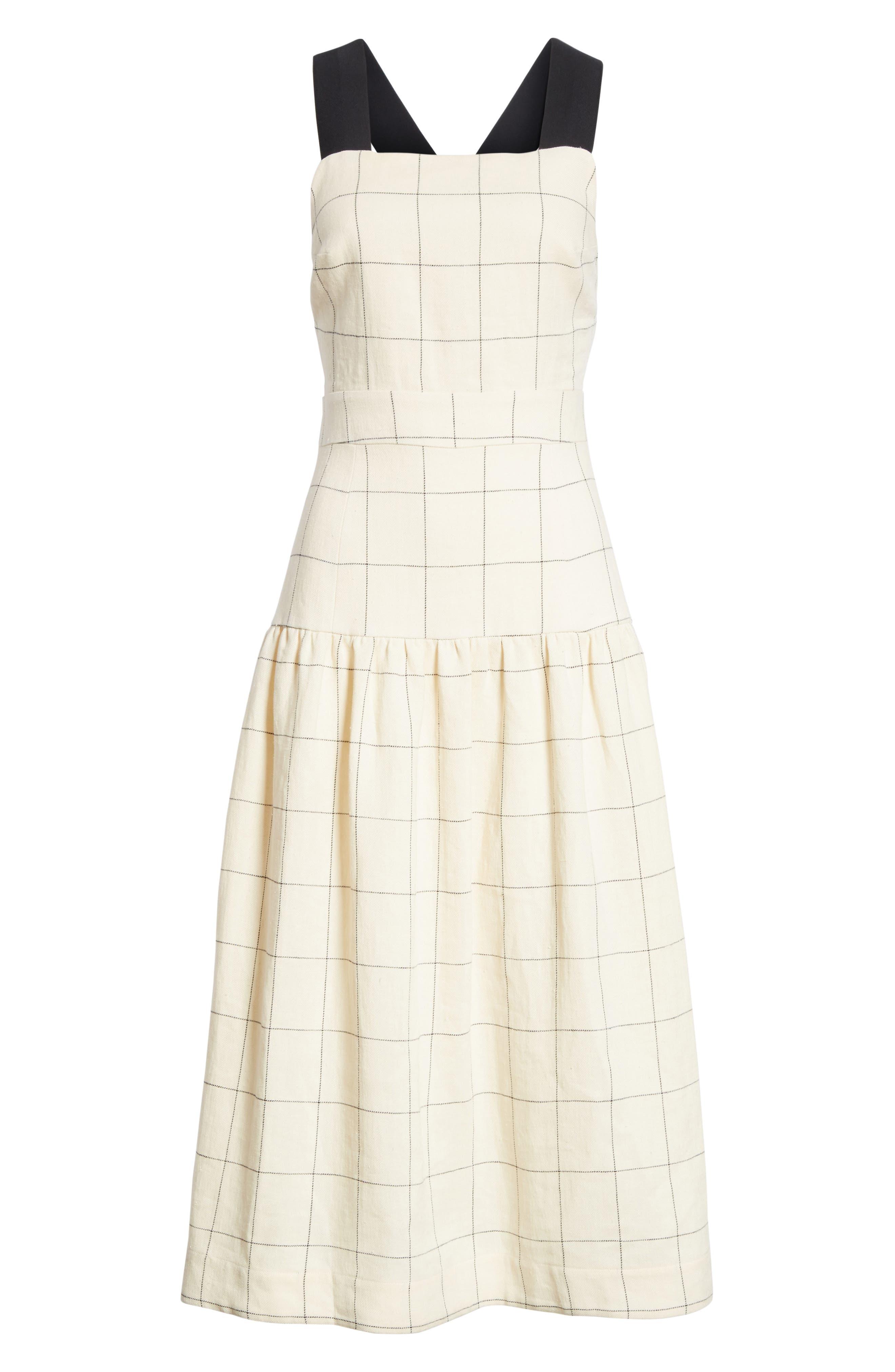 Jacques X-Factor Grid Linen Dress,                             Alternate thumbnail 6, color,                             Cream Grid