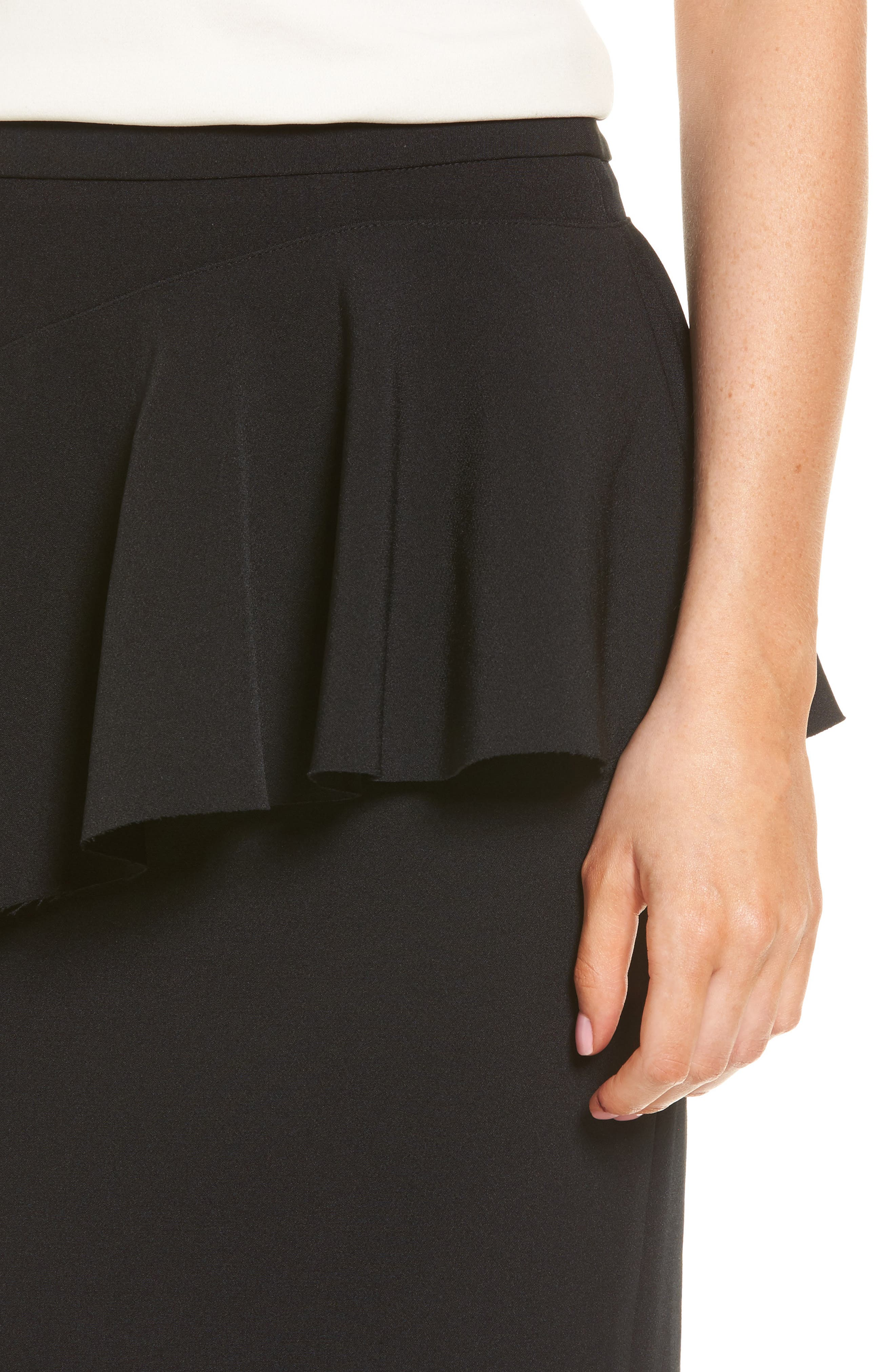 Ruffle Detail Pencil Skirt,                             Alternate thumbnail 4, color,                             Black