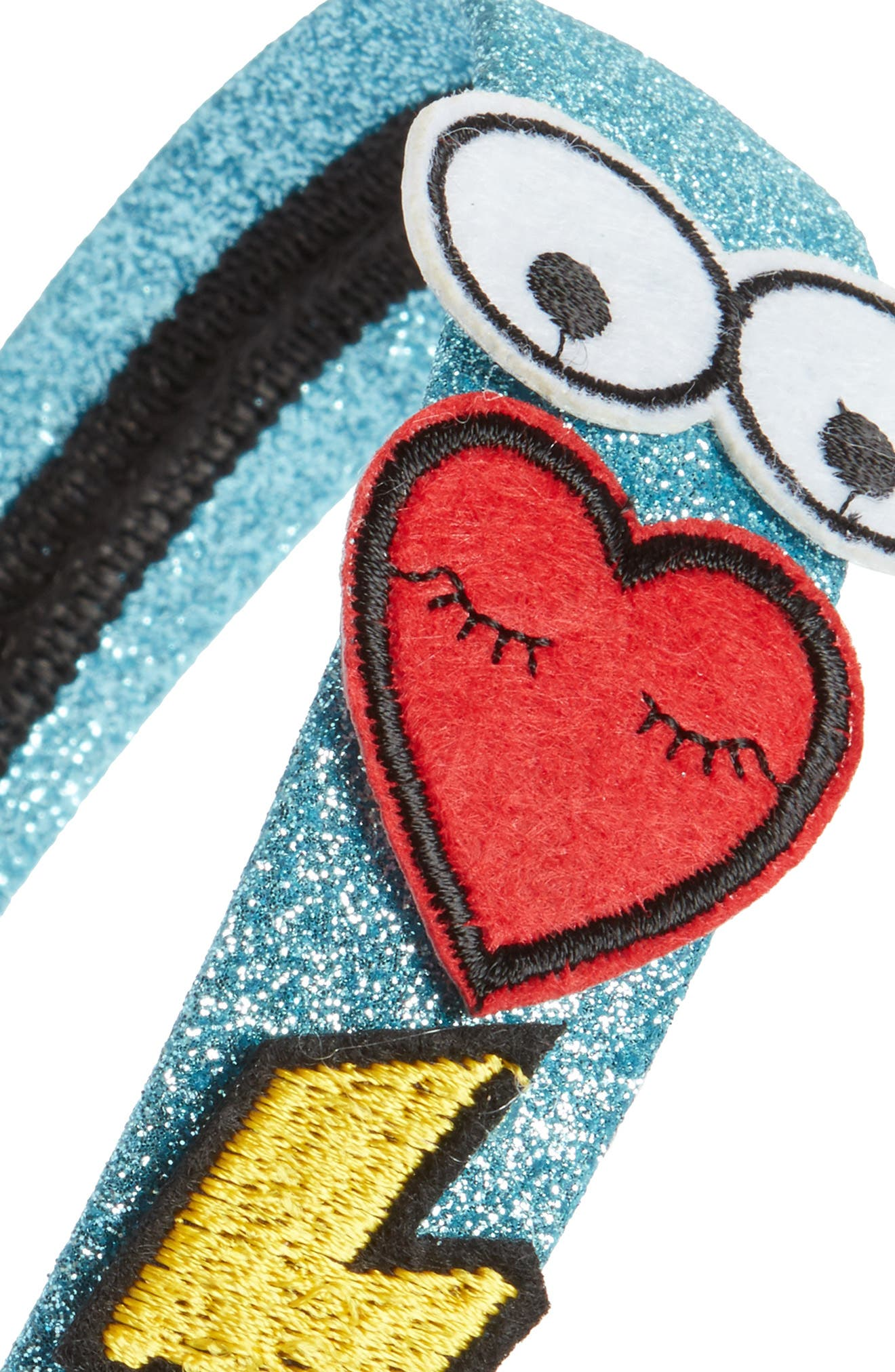 Capellli New York Patches Glitter Headband,                             Alternate thumbnail 2, color,                             Blue Combo