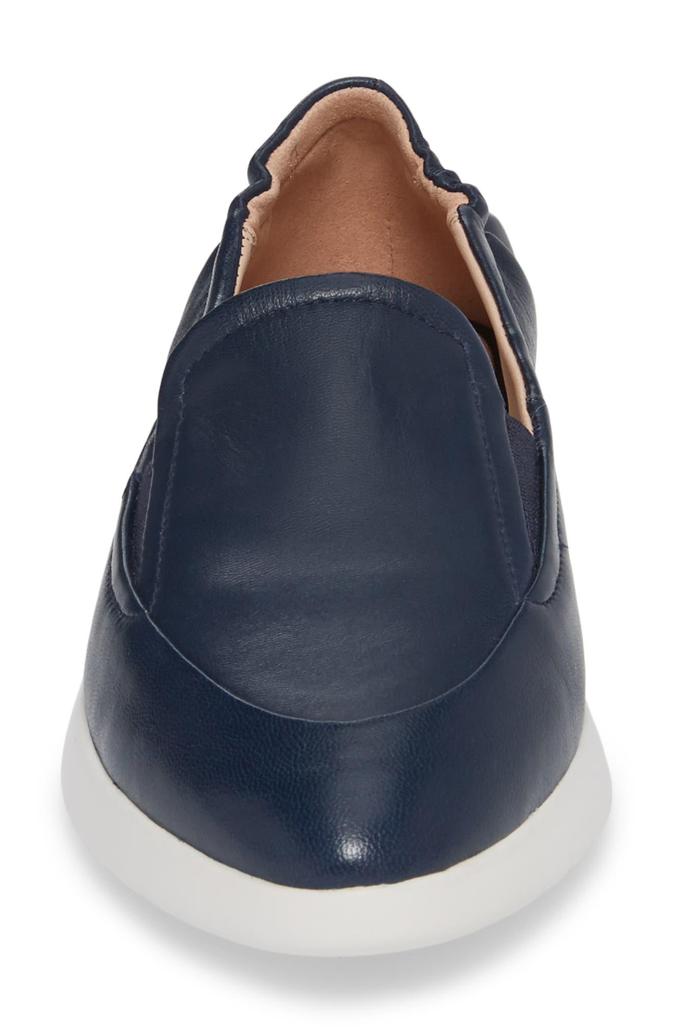 Dana Loafer Sneaker,                             Alternate thumbnail 4, color,                             Navy Leather