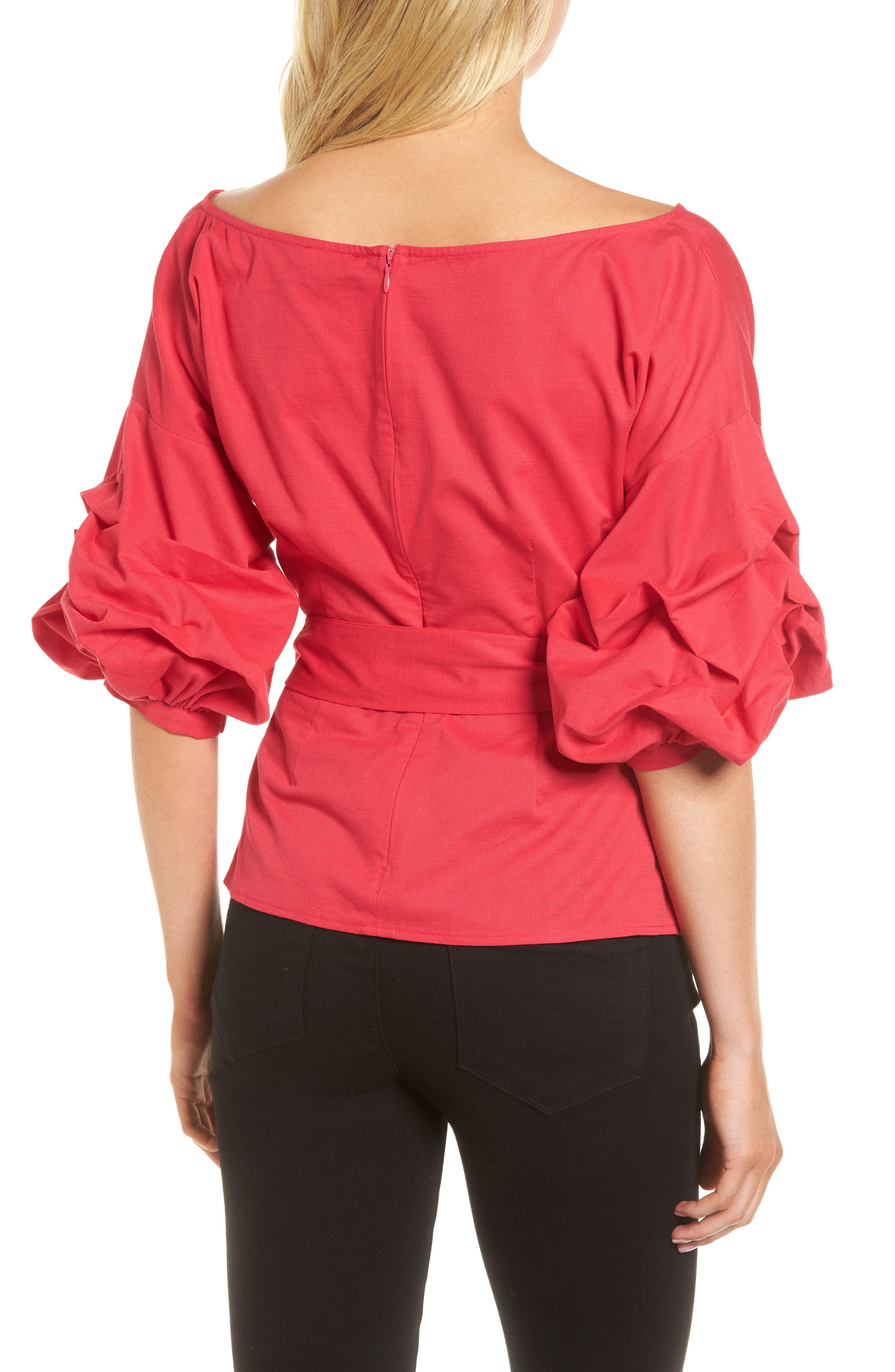 Wrap Top,                             Alternate thumbnail 2, color,                             Red Barberry