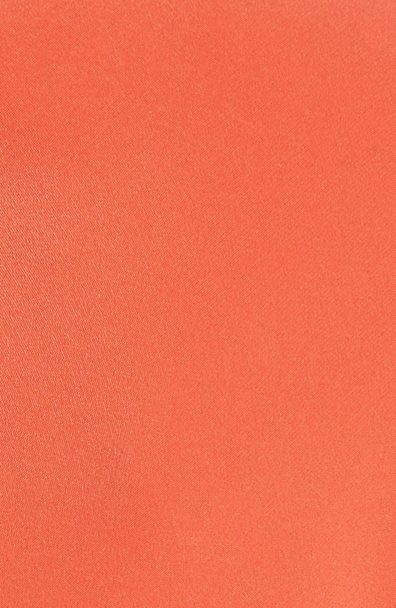 Twist Detail Silk Dress,                             Alternate thumbnail 6, color,                             Persimmon Orange