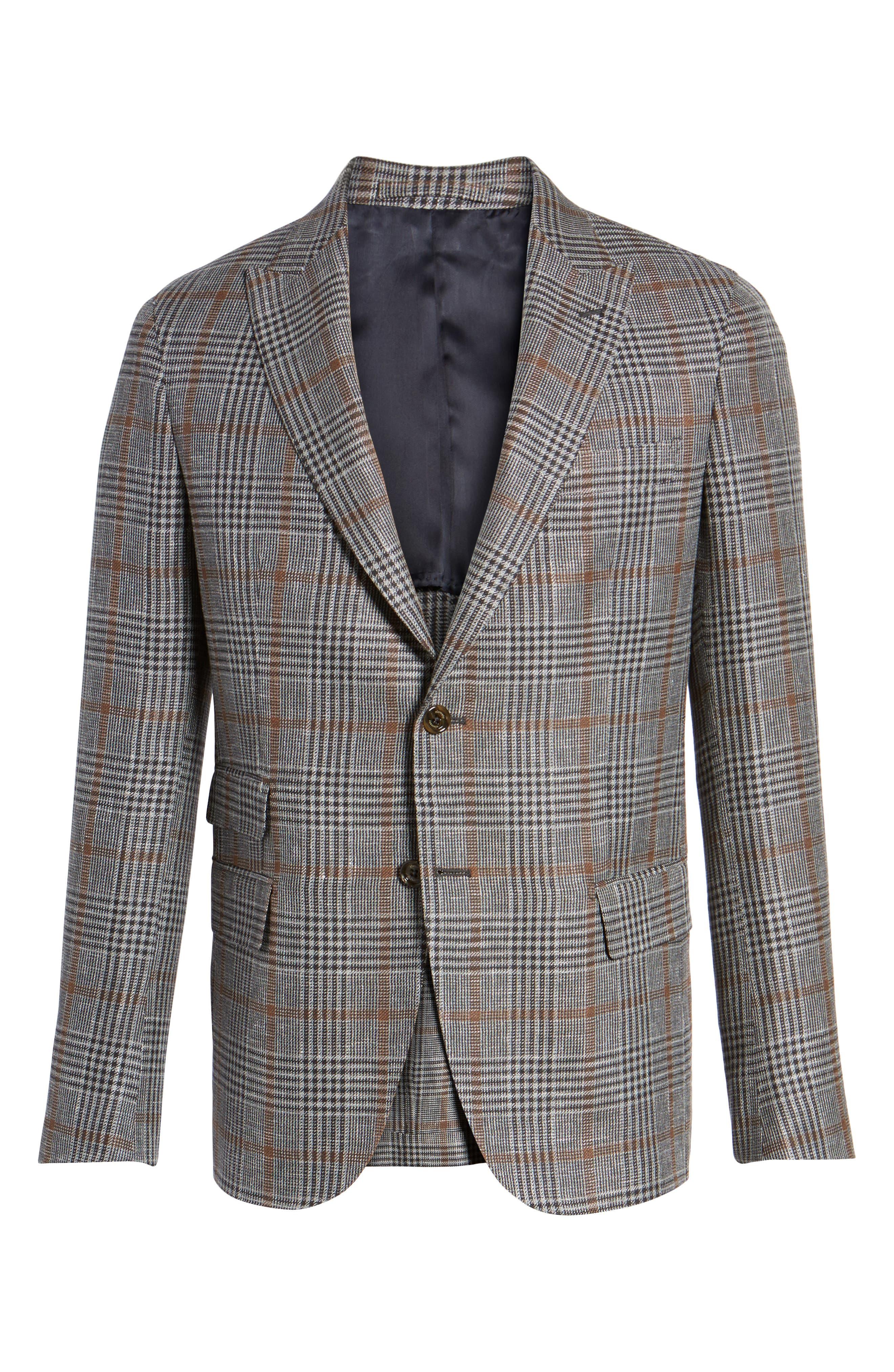 Trim Fit Plaid Linen Blend Sport Coat,                             Alternate thumbnail 6, color,                             Light Grey