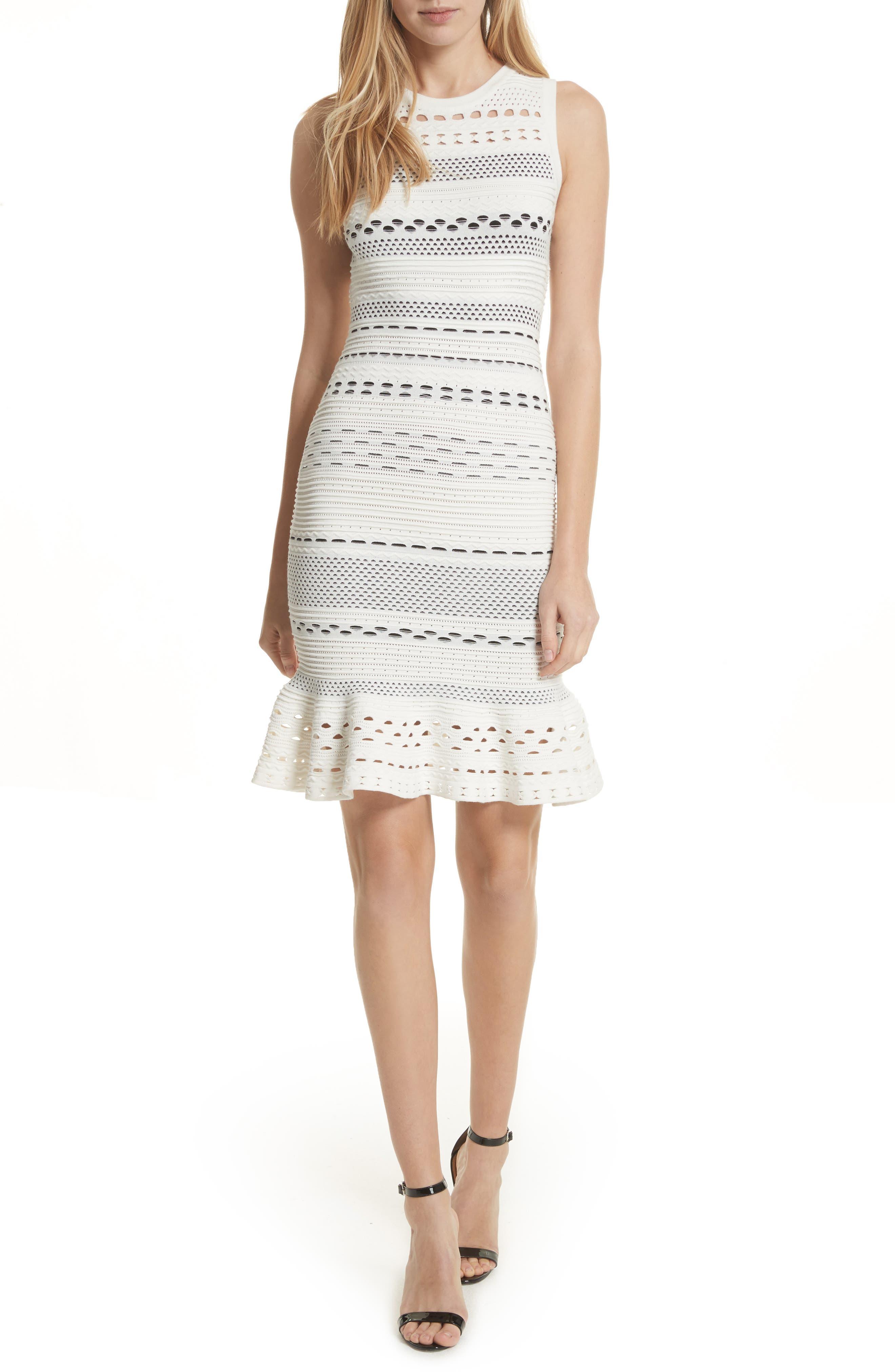 Cutout Lace Knit Dress,                             Main thumbnail 1, color,                             White/ Black