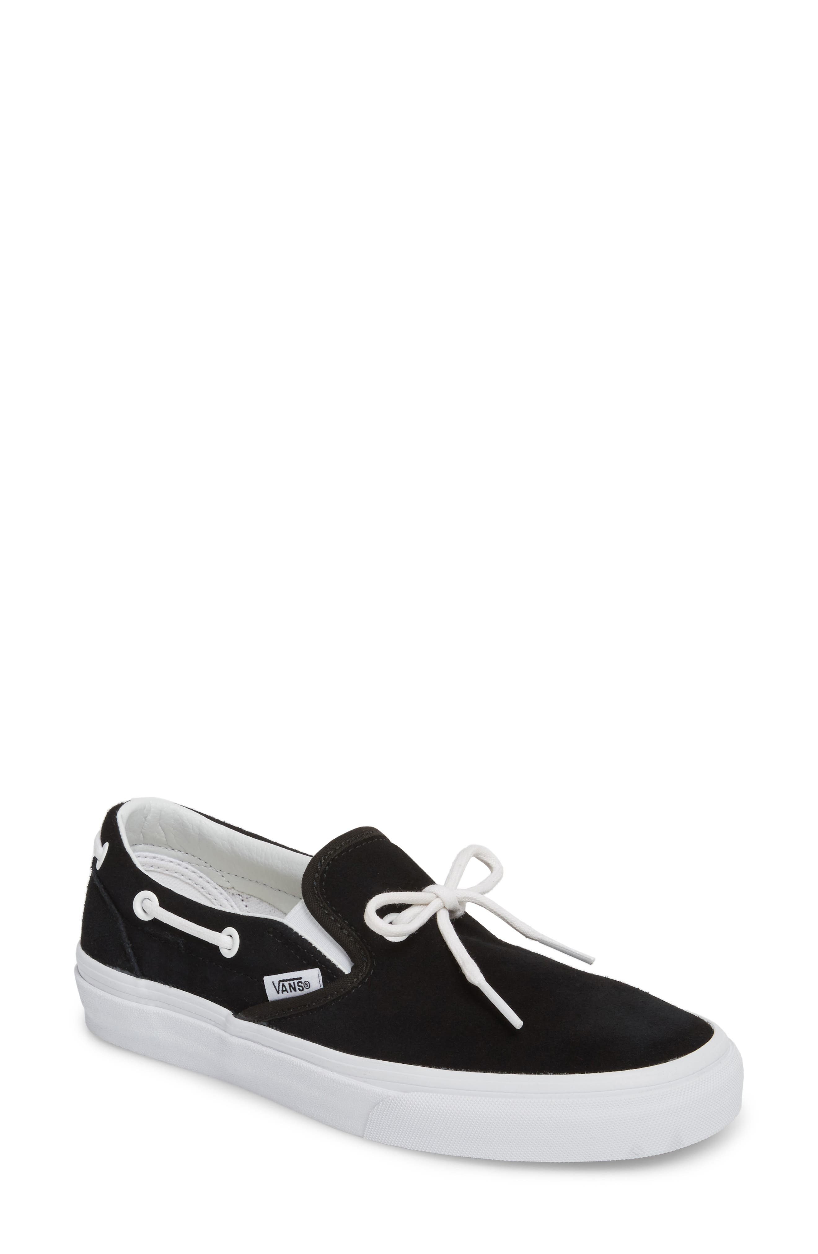UA Lacey 72 Slip-On Boat Sneaker,                             Main thumbnail 1, color,                             Black Leather