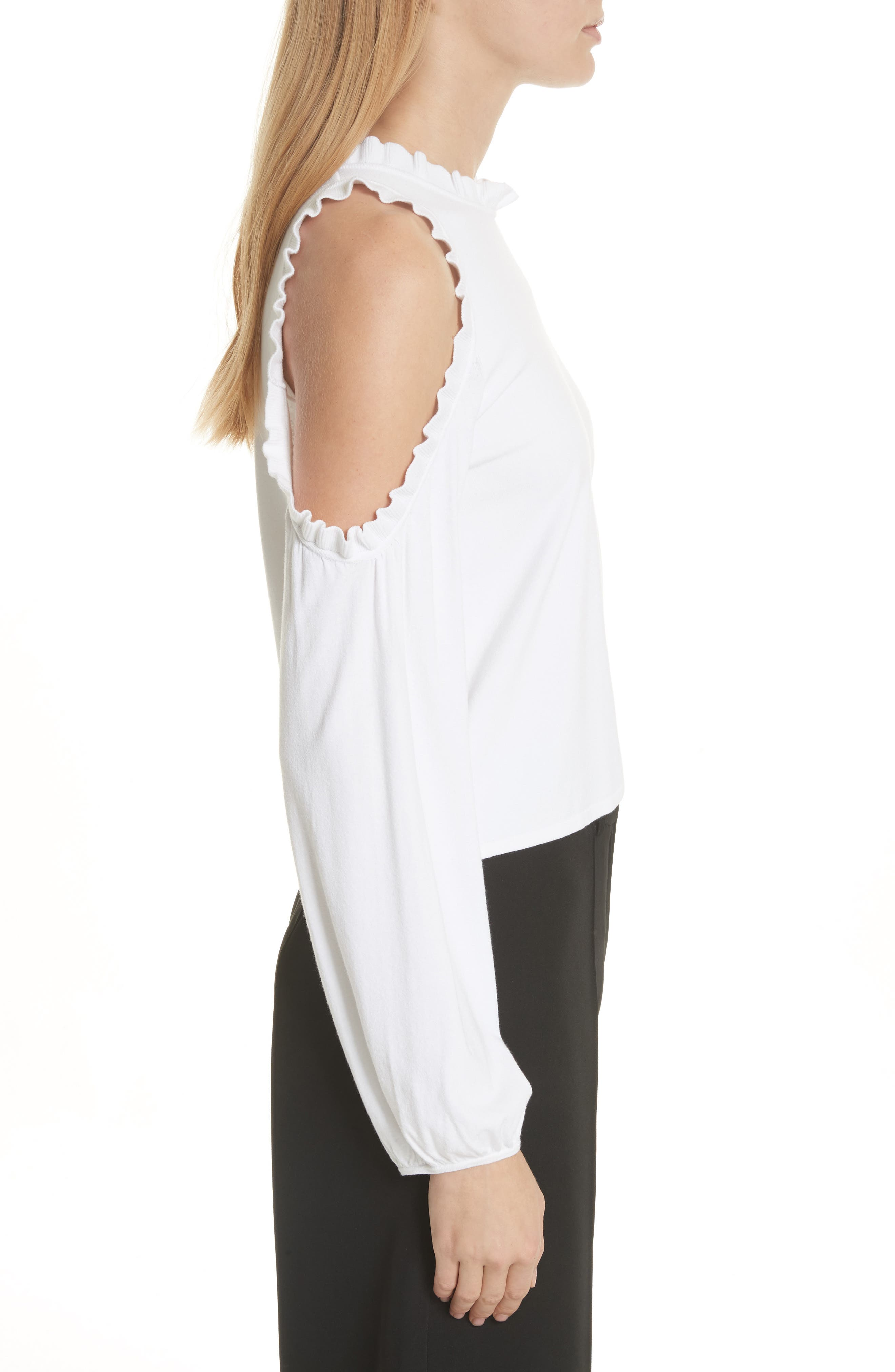 Cold Shoulder Ruffle Top,                             Alternate thumbnail 3, color,                             White