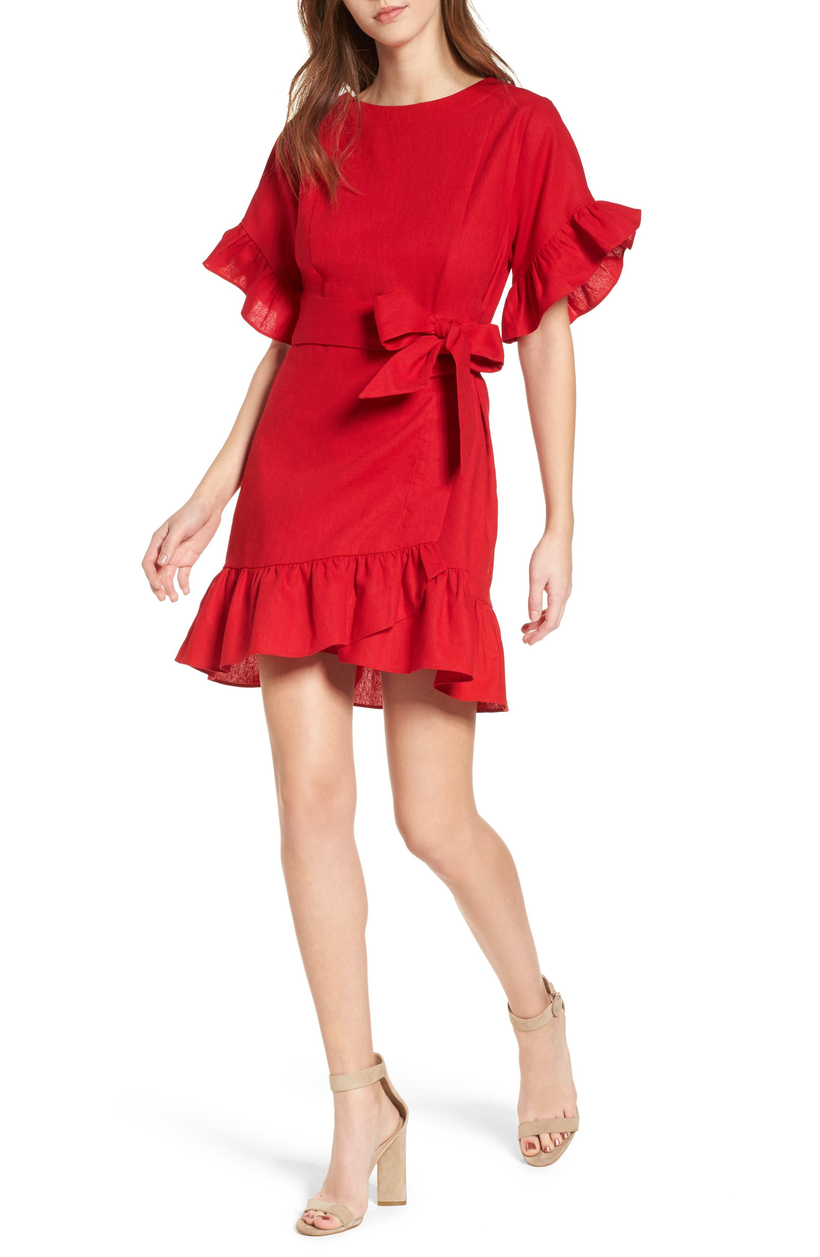 Socialite Ruffle Faux Wrap Dress
