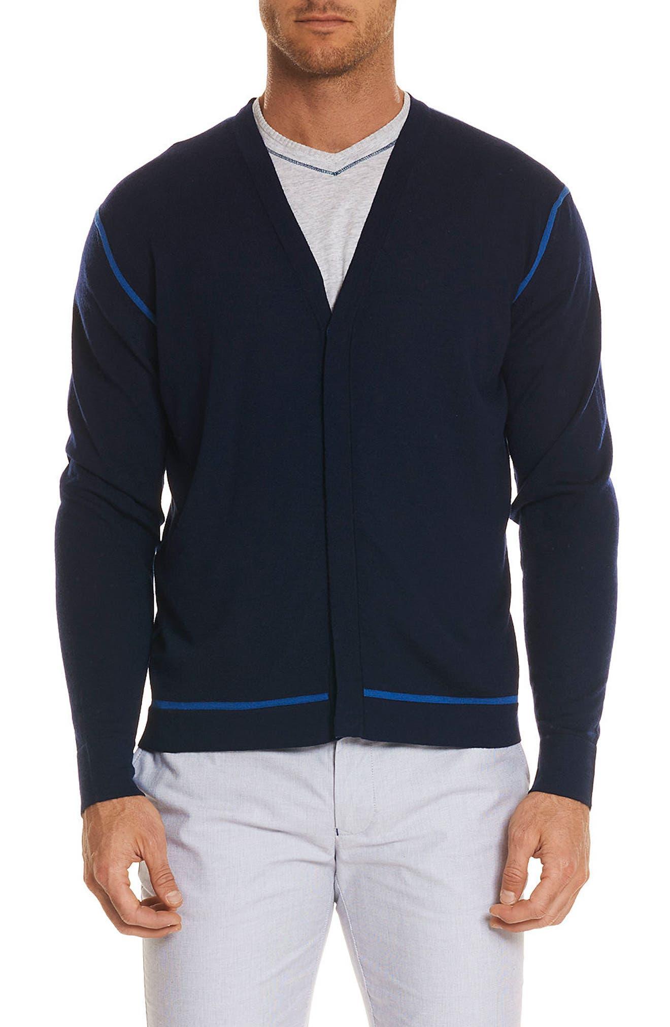 Hugo Merino Wool Cardigan,                         Main,                         color, Navy