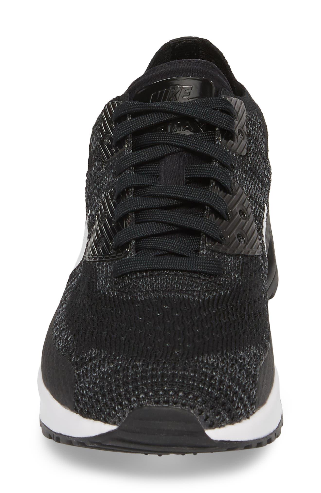 Air Max 90 Flyknit Ultra 2.0 Sneaker,                             Alternate thumbnail 4, color,                             Black/ White/ Dark Grey