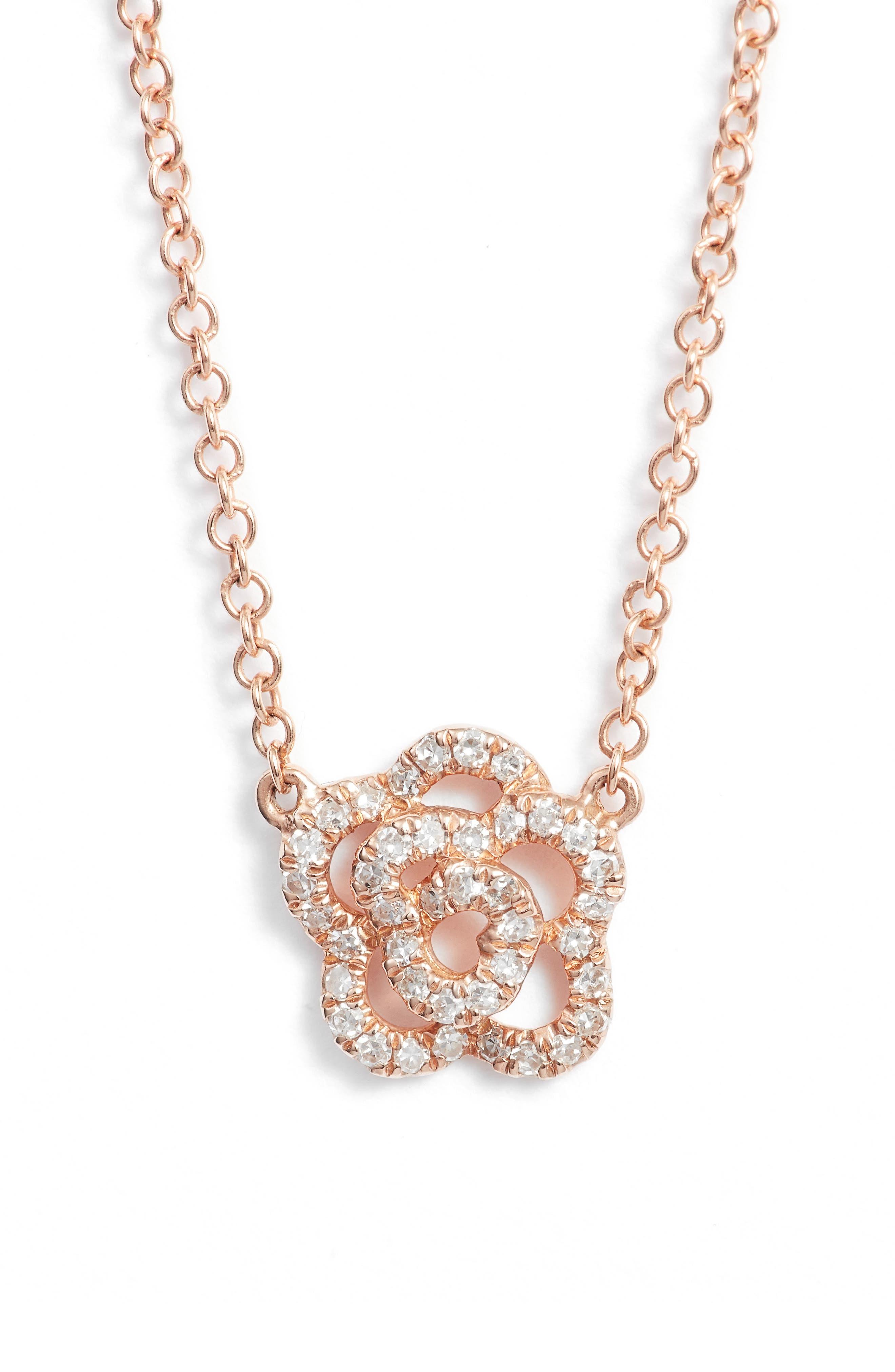 Diamond Pendant Necklace,                             Main thumbnail 1, color,                             Rose Gold