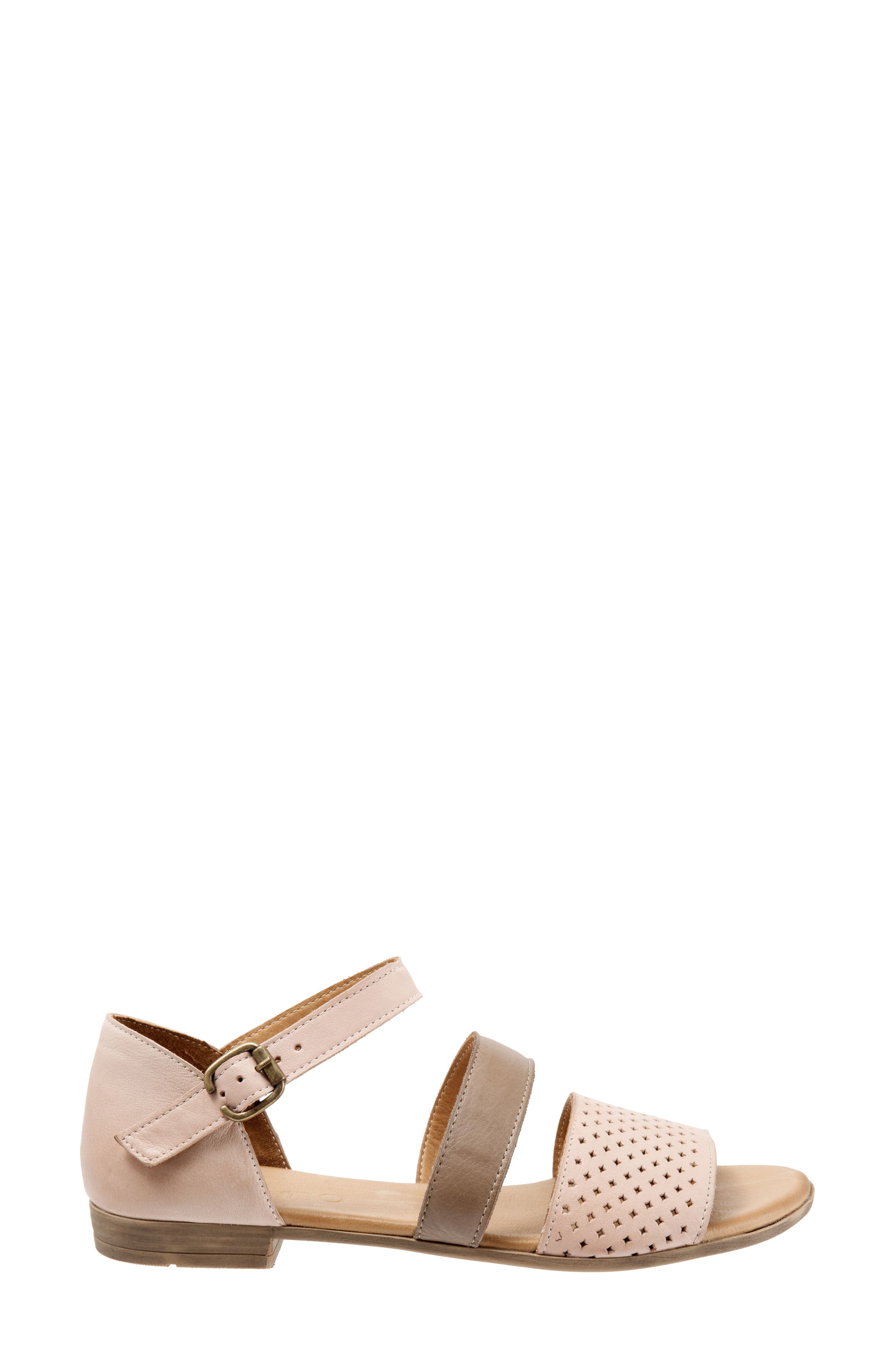 Janet Perforated Flat Sandal,                             Alternate thumbnail 3, color,                             Pale Pink Leather
