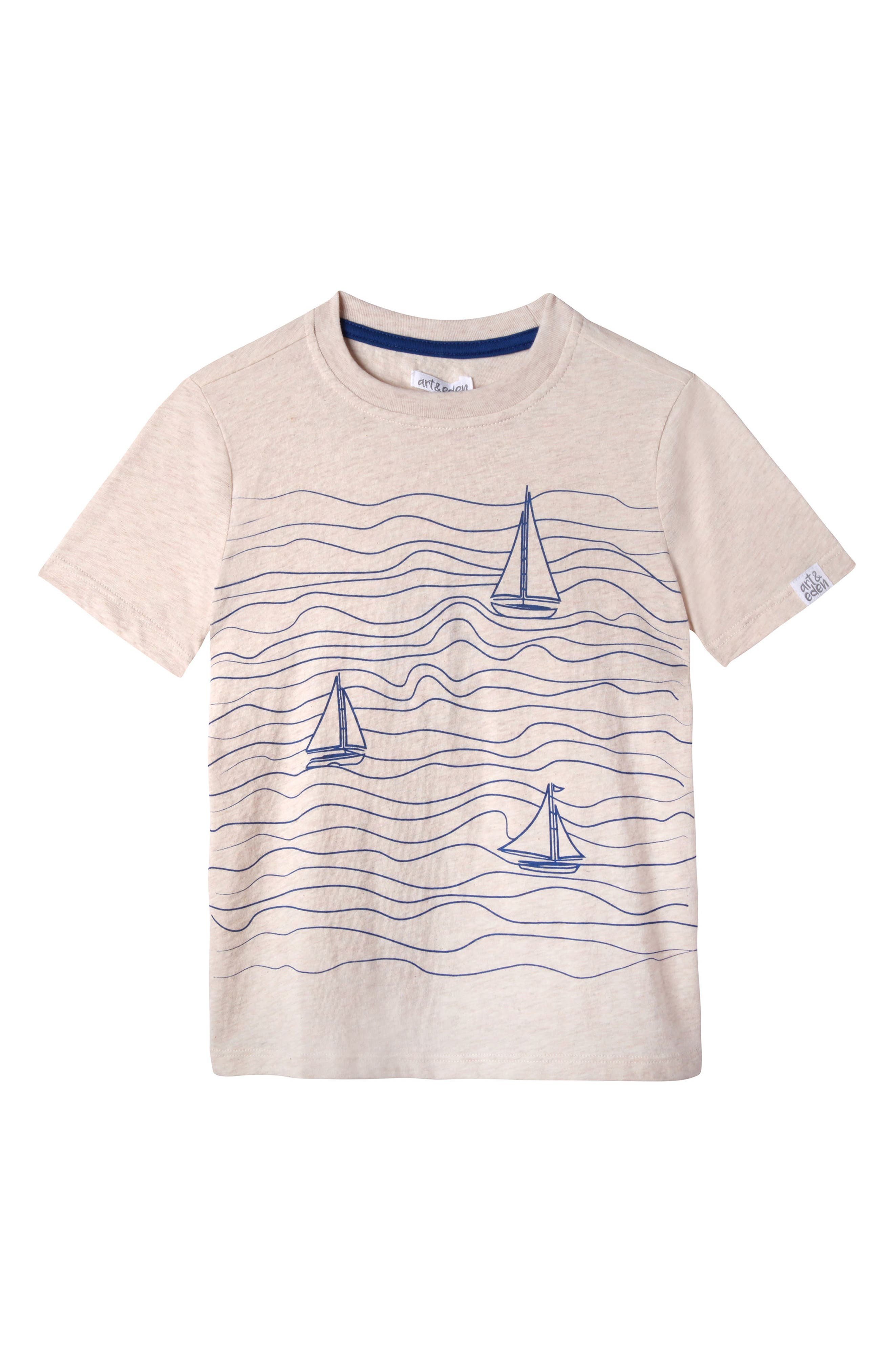 Jacob Sailboat Organic Cotton T-Shirt,                             Main thumbnail 1, color,                             Oatmeal Heather
