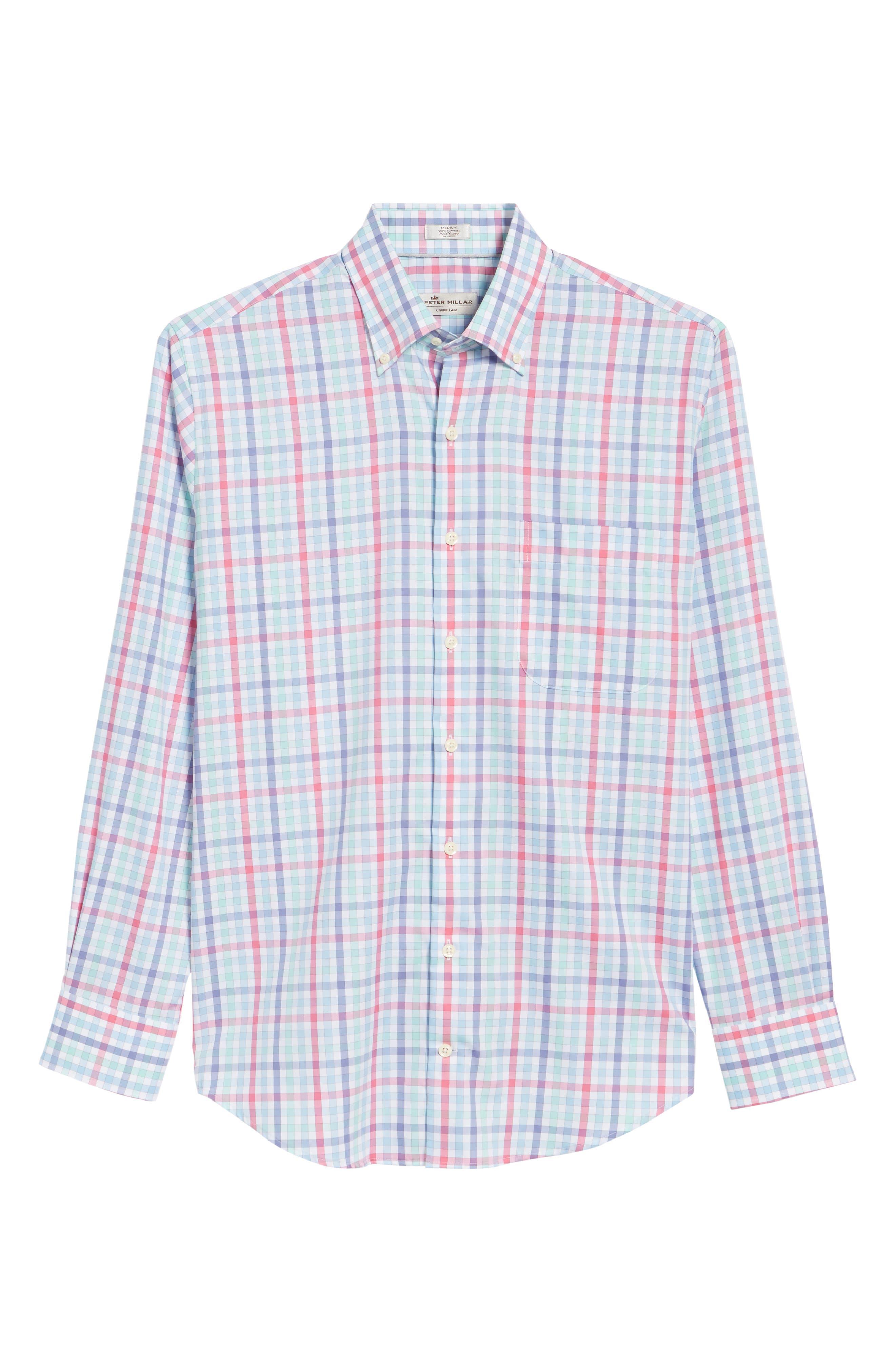 Crown Ease Habanero Regular Fit Check Sport Shirt,                             Alternate thumbnail 6, color,                             Tar Heel Blue