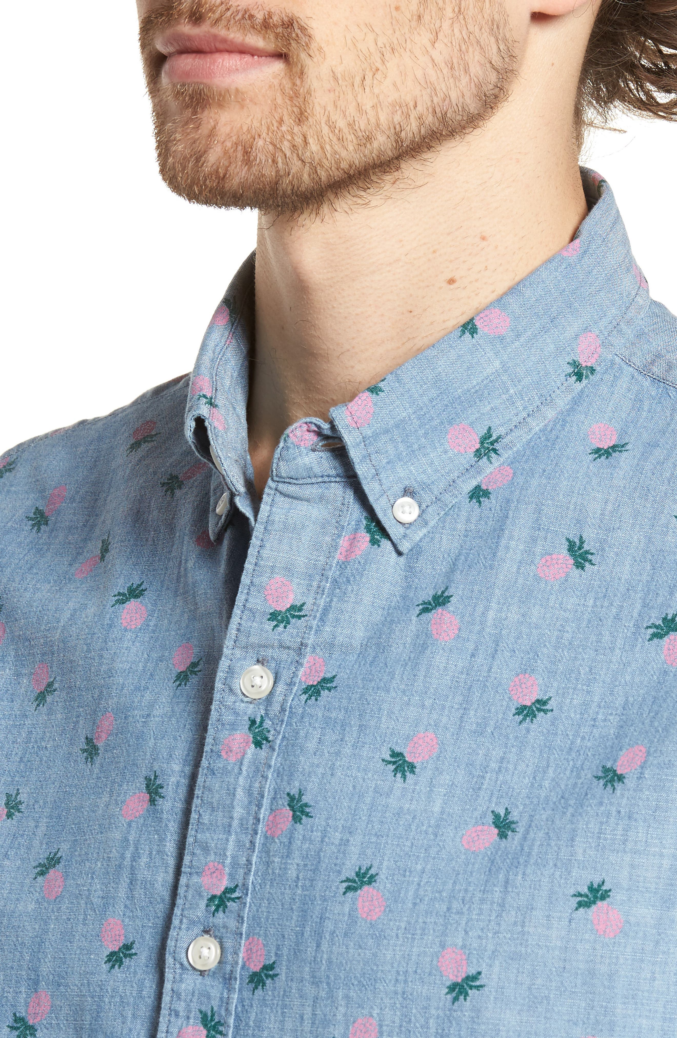 Slim Fit Print Short Sleeve Sport Shirt,                             Alternate thumbnail 2, color,                             Pineapple Drive - Pink Gin
